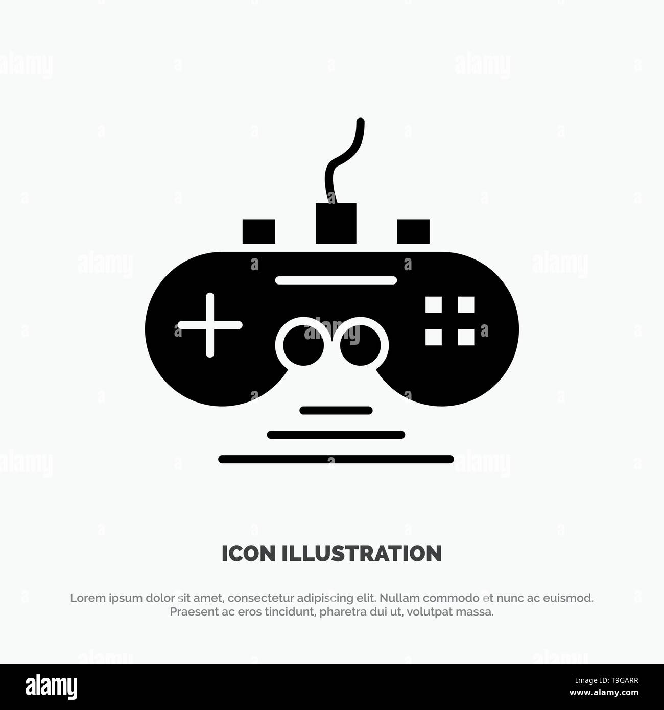Controller, Game, Game Controller, Gamepad Solid Black Glyph Icon - Stock Image