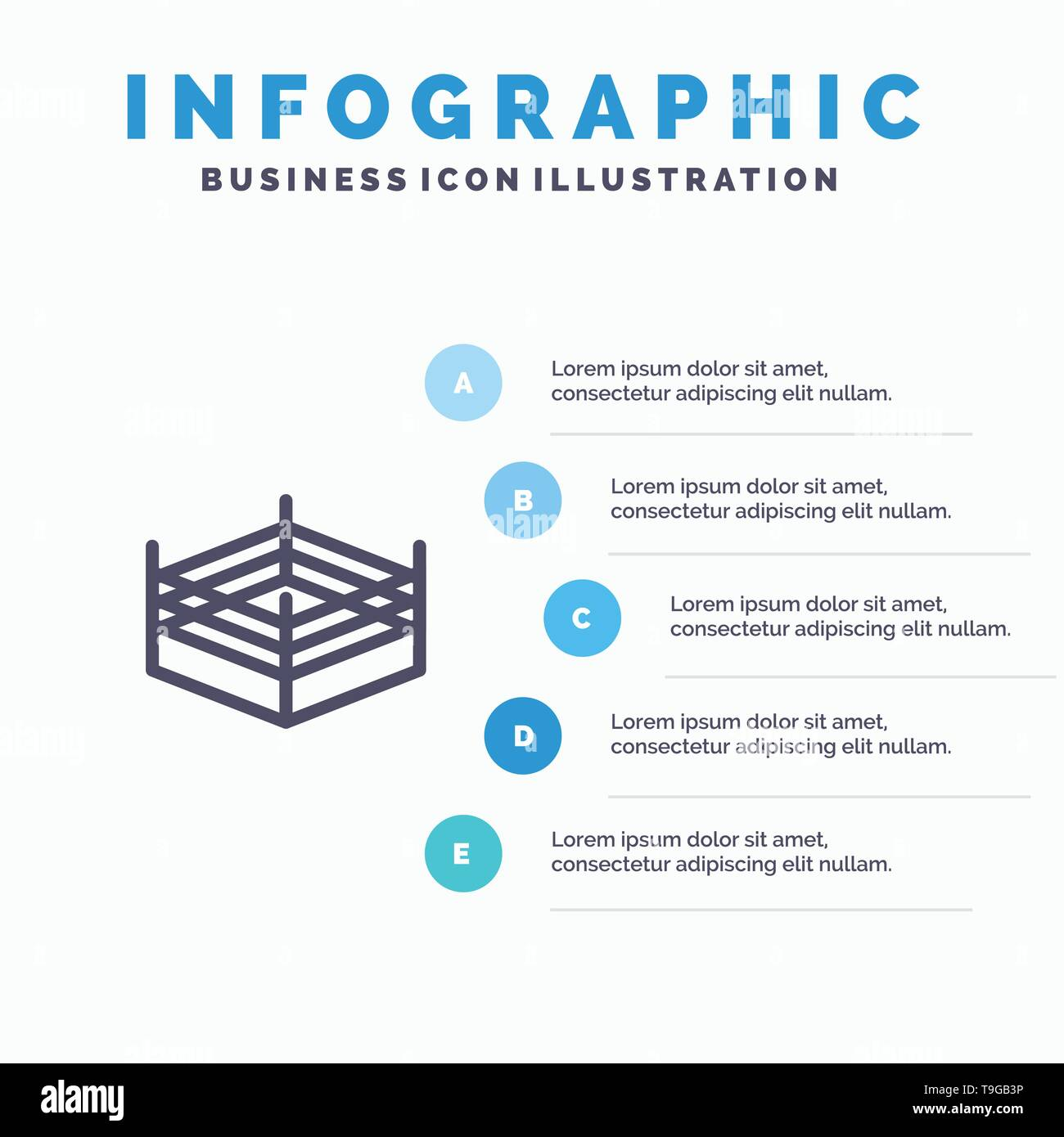 Boxing, Ring, Wrestling Line icon with 5 steps presentation infographics Background - Stock Image