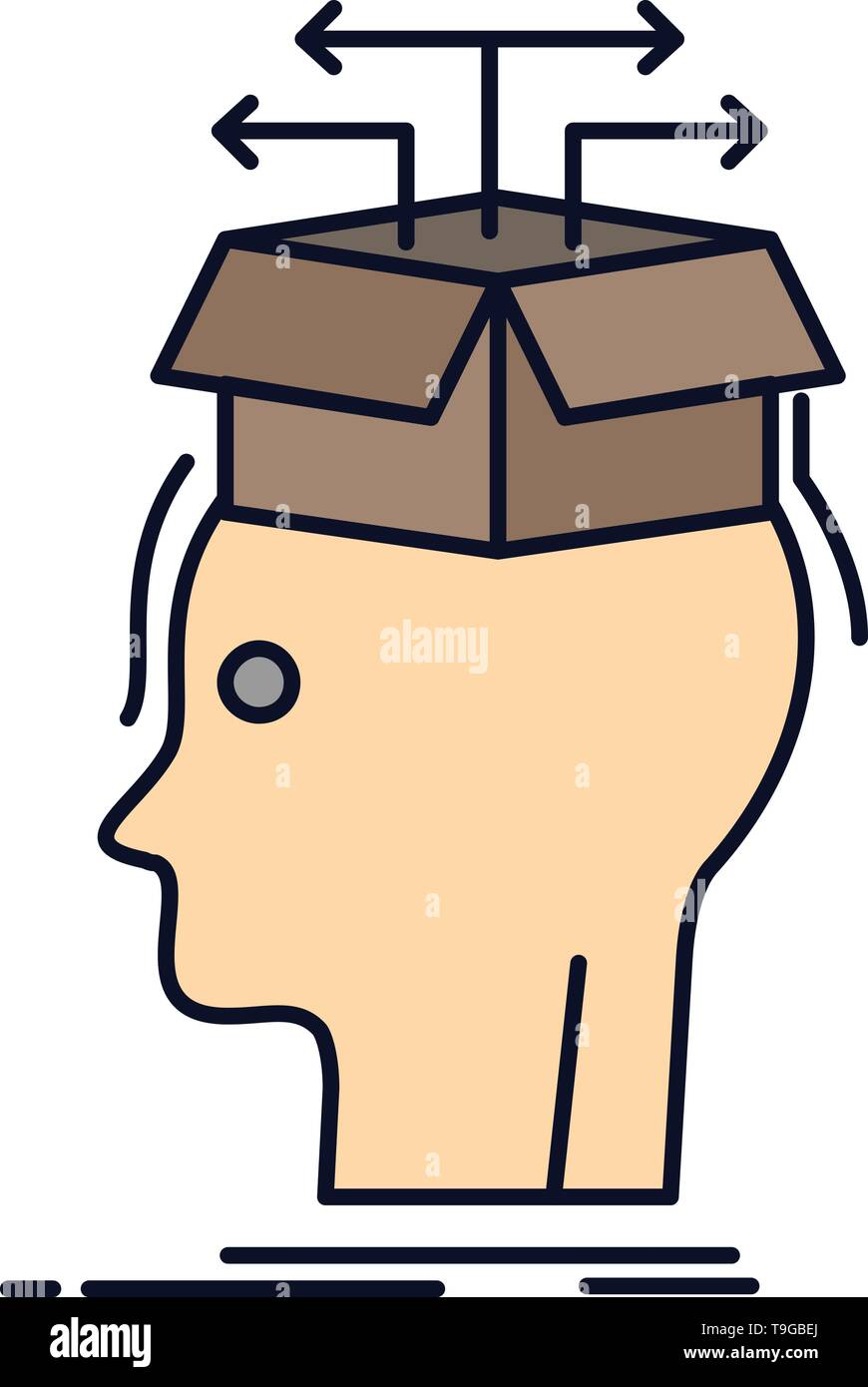 Data Extraction Head Knowledge Sharing Flat Color Icon Vector Stock Vector Image Art Alamy
