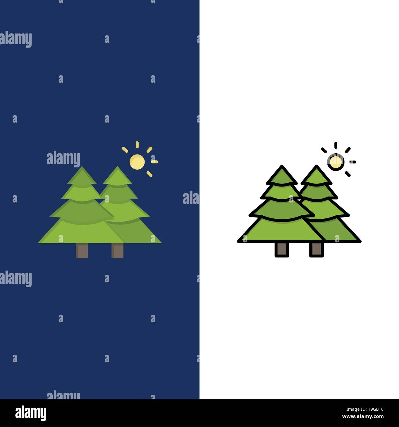 Fir, Forest, Nature, Trees  Icons. Flat and Line Filled Icon Set Vector Blue Background - Stock Image