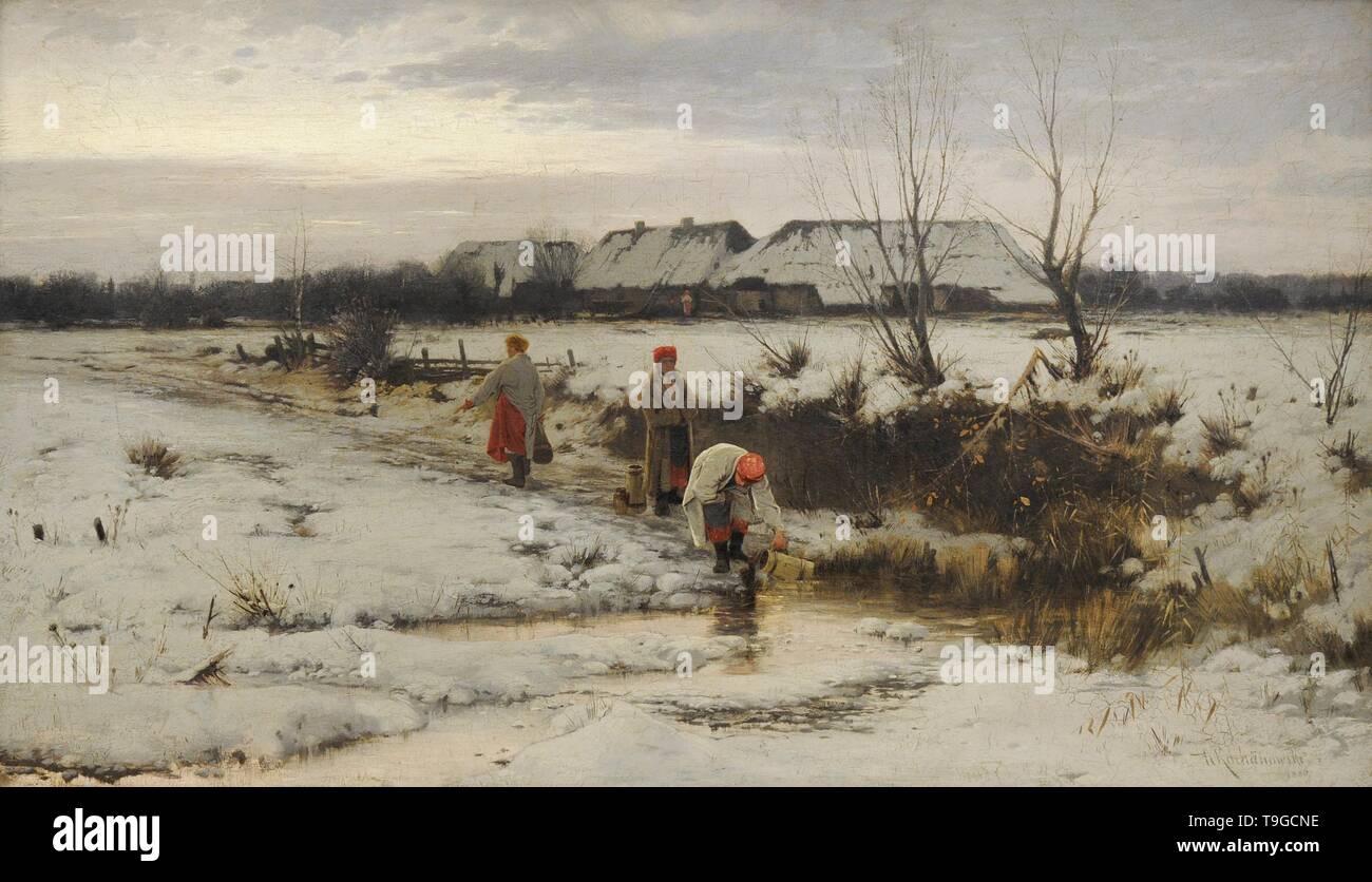 Roman Kochanowski (1857-1945). Pintor polaco. Paisaje invernal, 1886. Galería de Arte Polaco del siglo XIX (Lonja de los Paños, Sukiennice). Museo Nacional de Cracovia. Polonia. - Stock Image