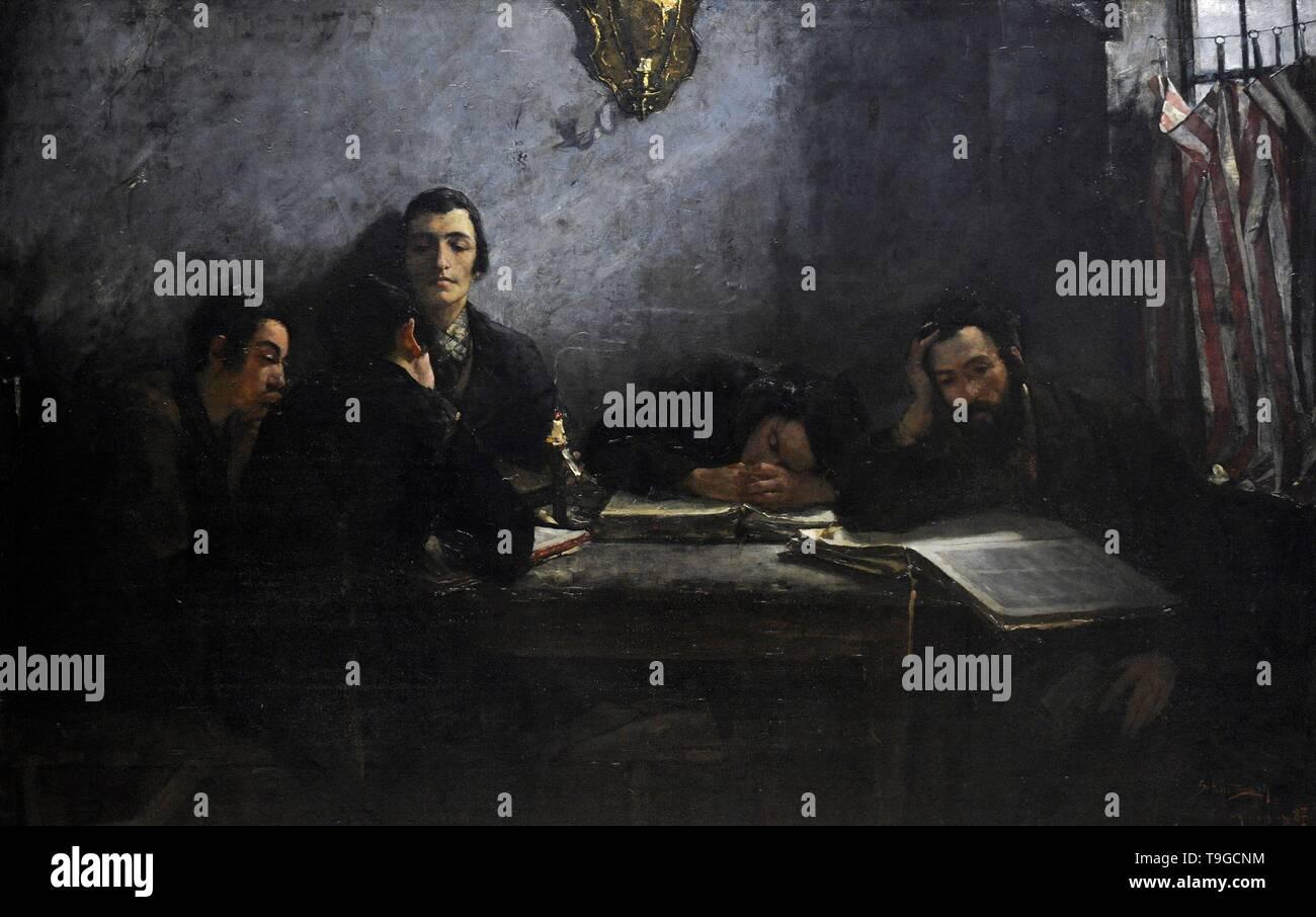 Samuel Hirszenberg (1865-1908). Pintor polaco. Escuela de Talmudistas, 1887. Galería de Arte Polaco del siglo XIX (Lonja de los Paños, Sukiennice). Museo Nacional de Cracovia. Polonia. - Stock Image