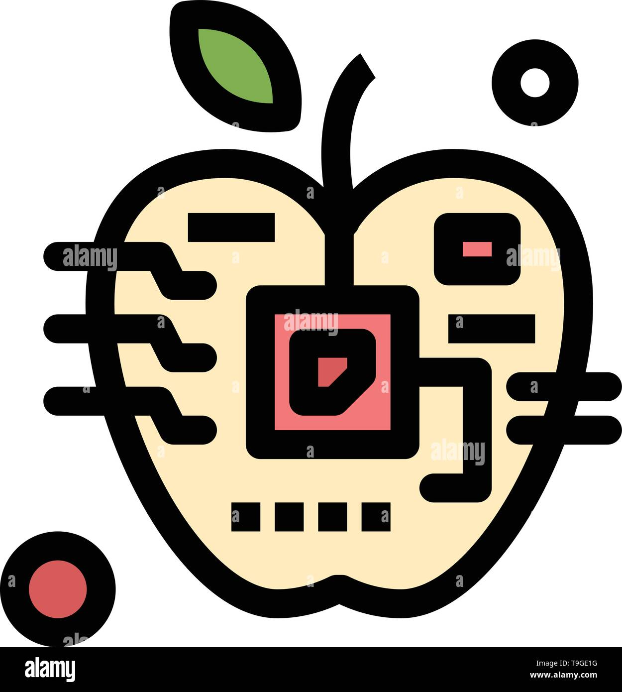 Apple, Artificial, Biology, Digital, Electronic  Flat Color Icon. Vector icon banner Template - Stock Image