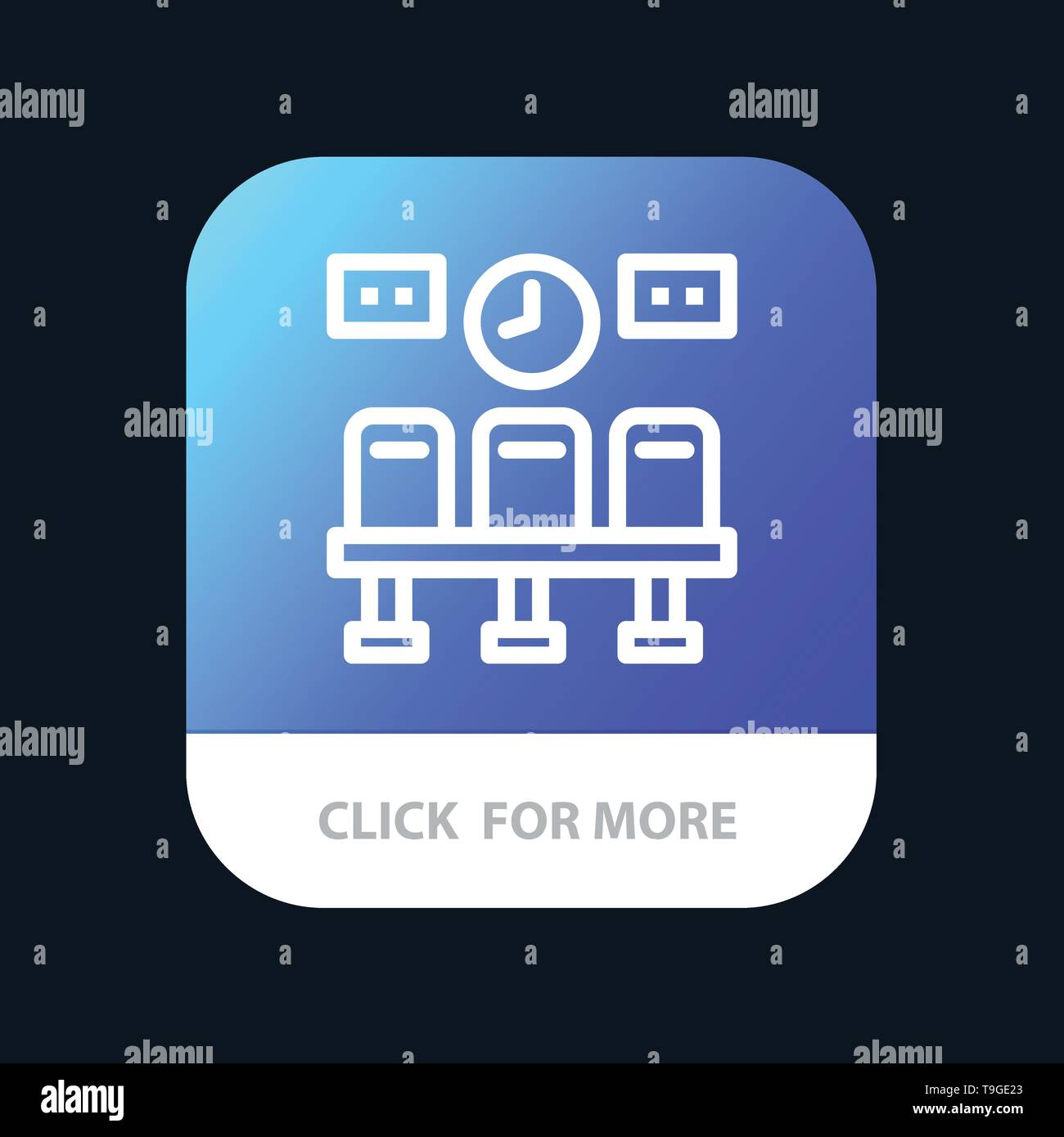 Seats, Train, Transportation, Clock Mobile App Button. Android and IOS Line Version - Stock Image
