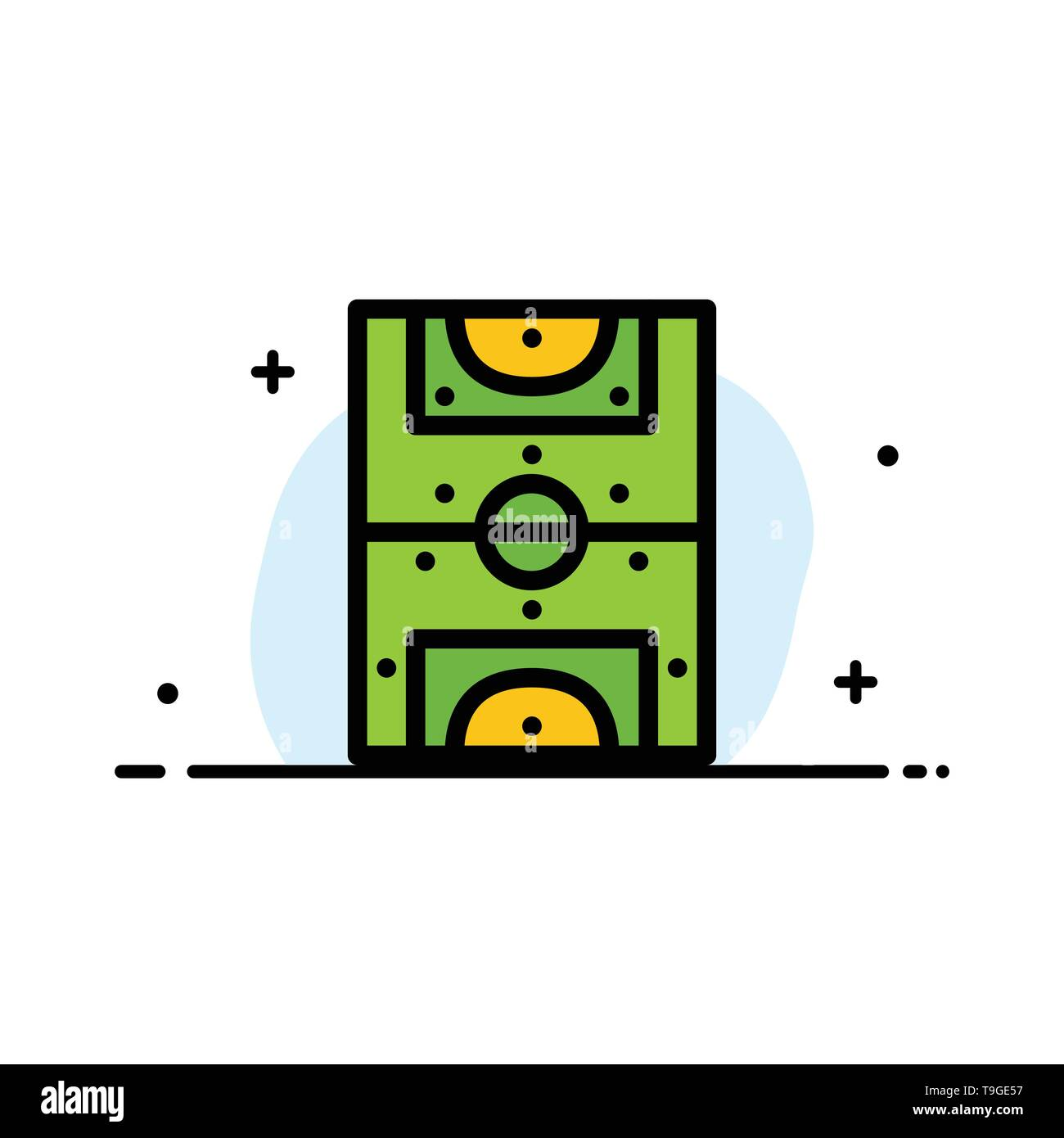 Entertainment, Game, Football, Field  Business Flat Line Filled Icon Vector Banner Template - Stock Image