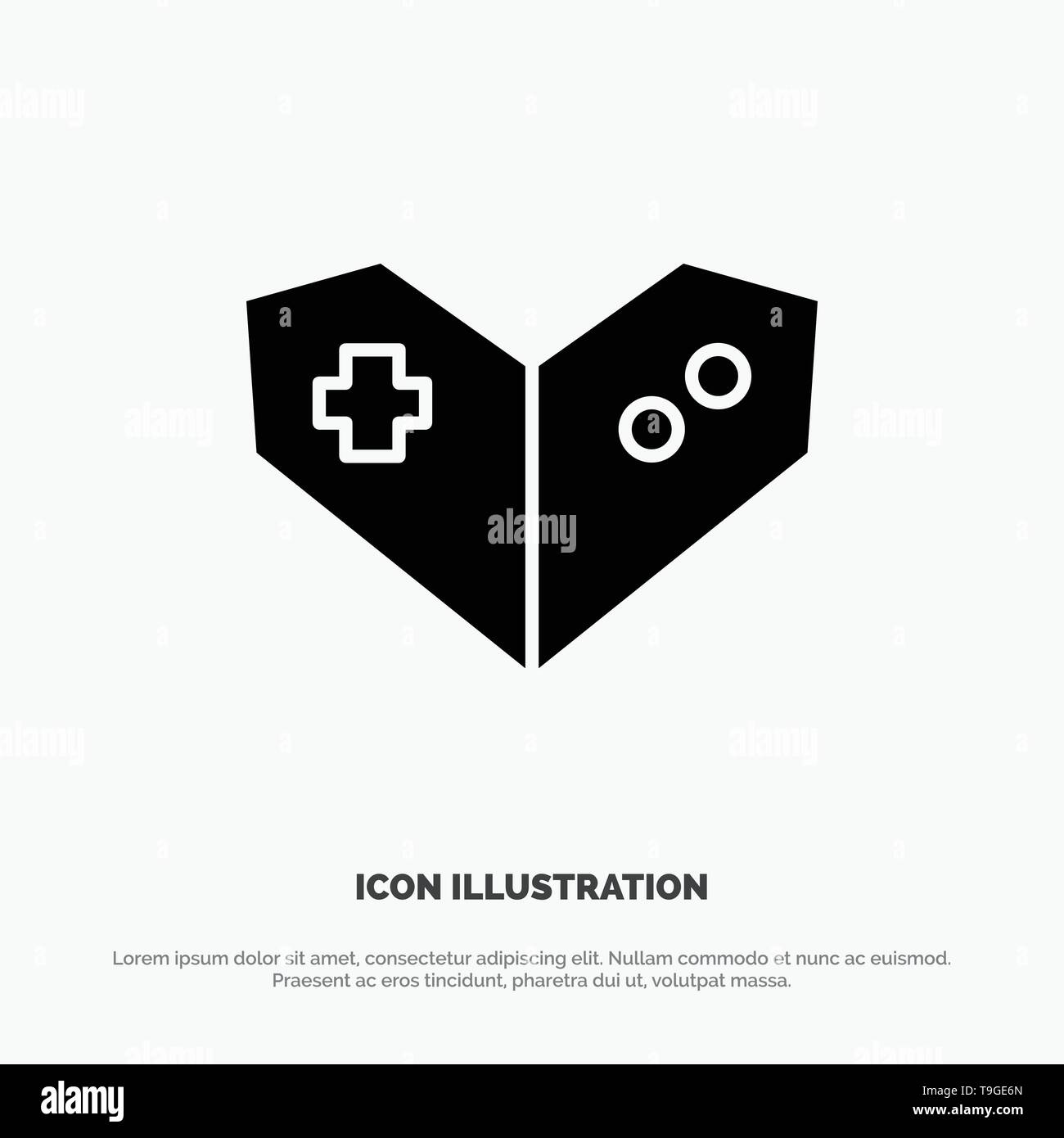 Gamepad, Videogame, PlayStation solid Glyph Icon vector - Stock Image