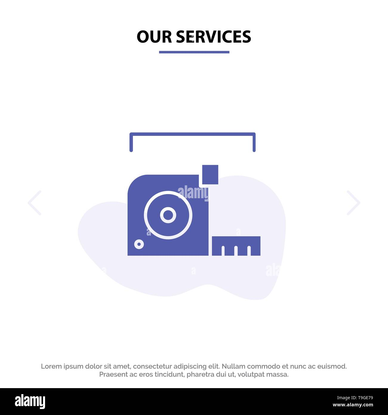 Our Services Measure, Measurement, Meter, Roulette, Ruler Solid Glyph Icon Web card Template - Stock Image