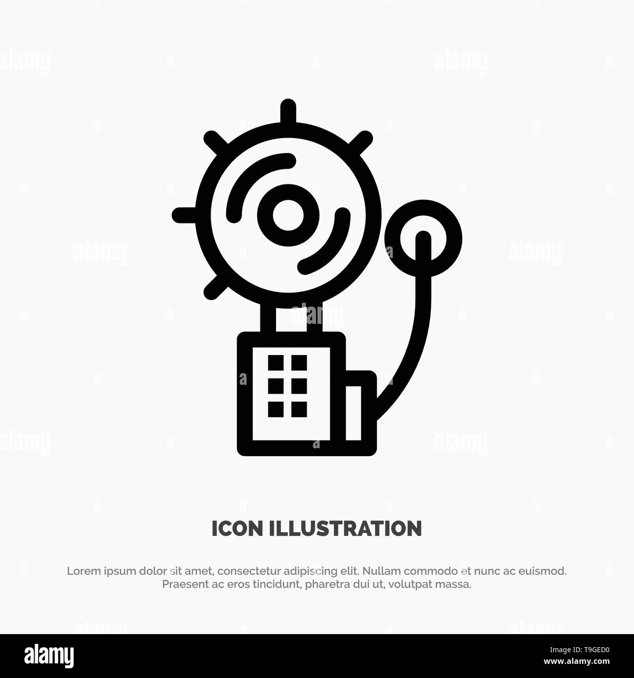 Alarm, Alert, Bell, Fire, Intruder Line Icon Vector Stock Vector