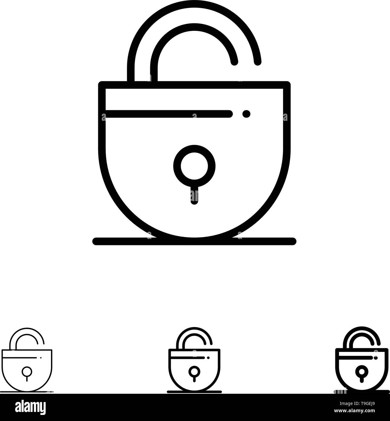 Lock, Locked, Security, Internet Bold and thin black line icon set - Stock Image