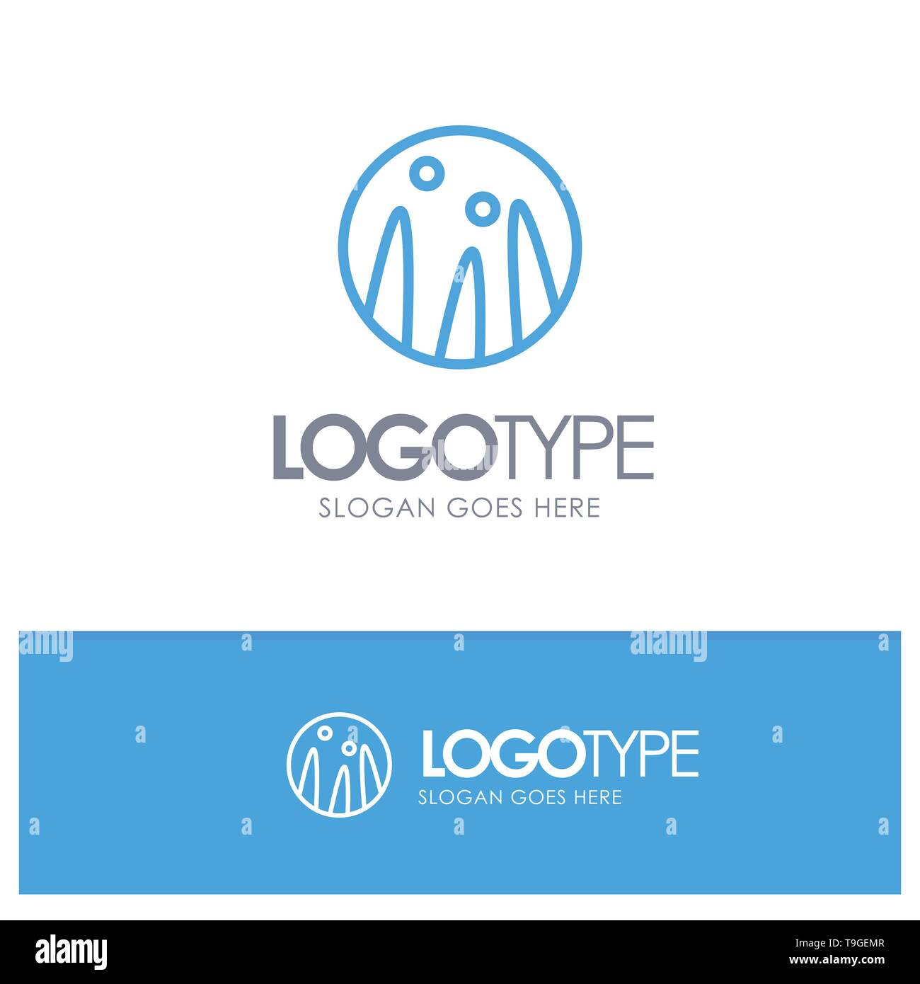 Hair Conditioning, Hair Therapy, Hair Treatment Blue Outline Logo Place for Tagline - Stock Image