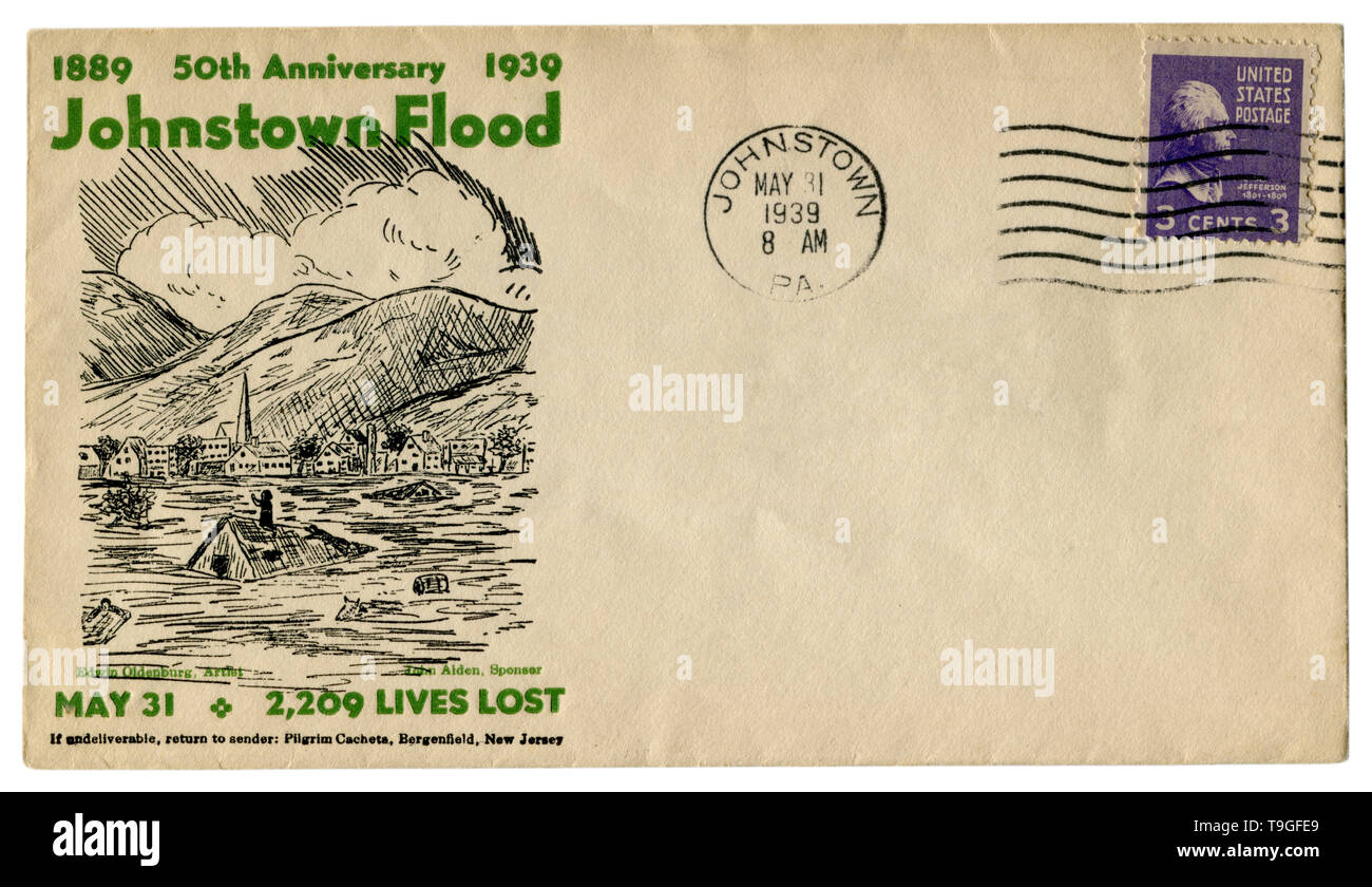 Johnstown, Pennsylvania, The USA  - 31 MAY 1939: US historical envelope: cover with cachet 50th anniversary 1889-1939 Johnstown Flood, postage stamp Stock Photo