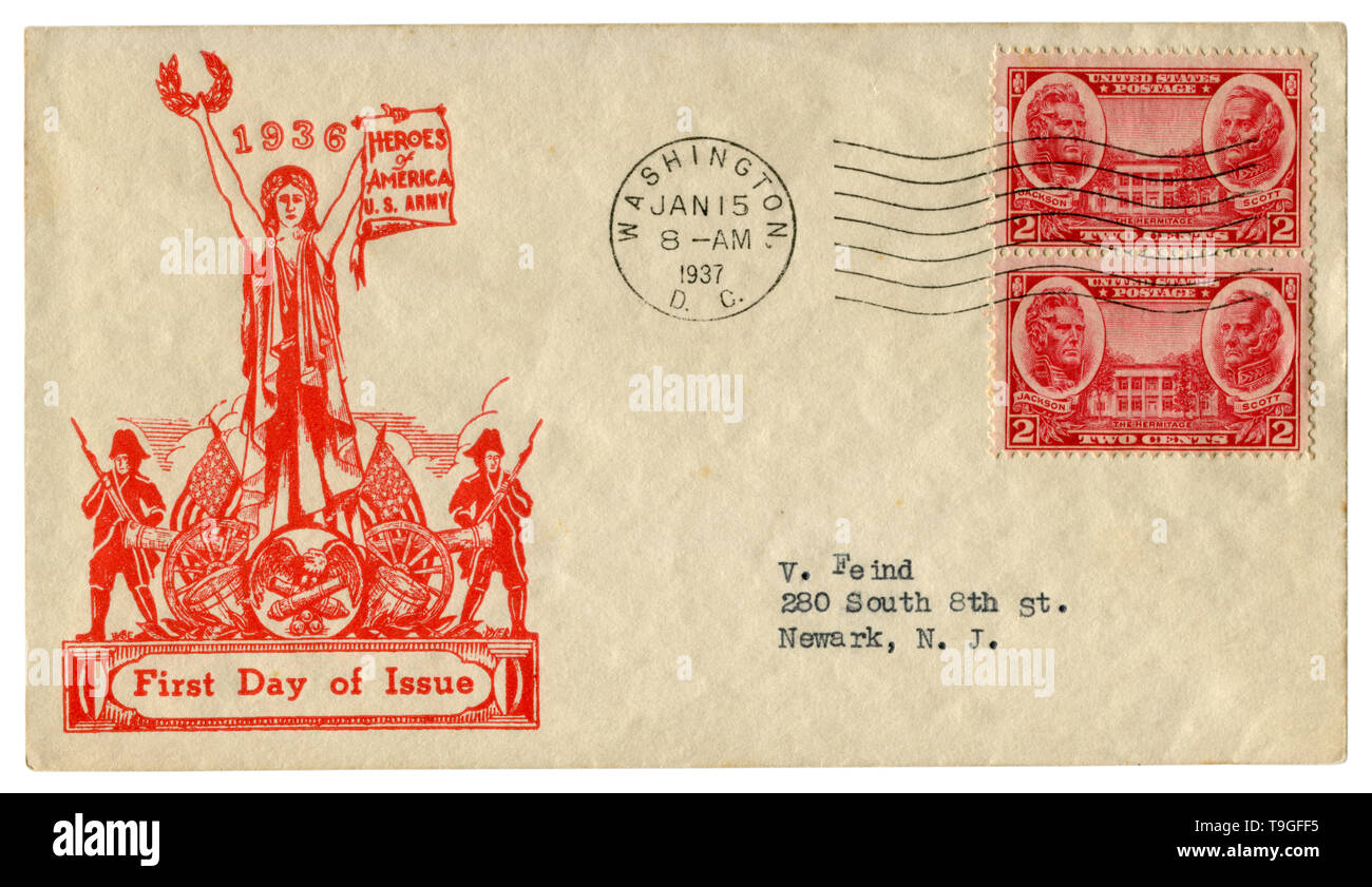 Washington D.C., The USA  - 15 January 1937: US historical envelope: cover with patriotic cachet Heroes of America, U.S. army, two red postage stamps - Stock Image