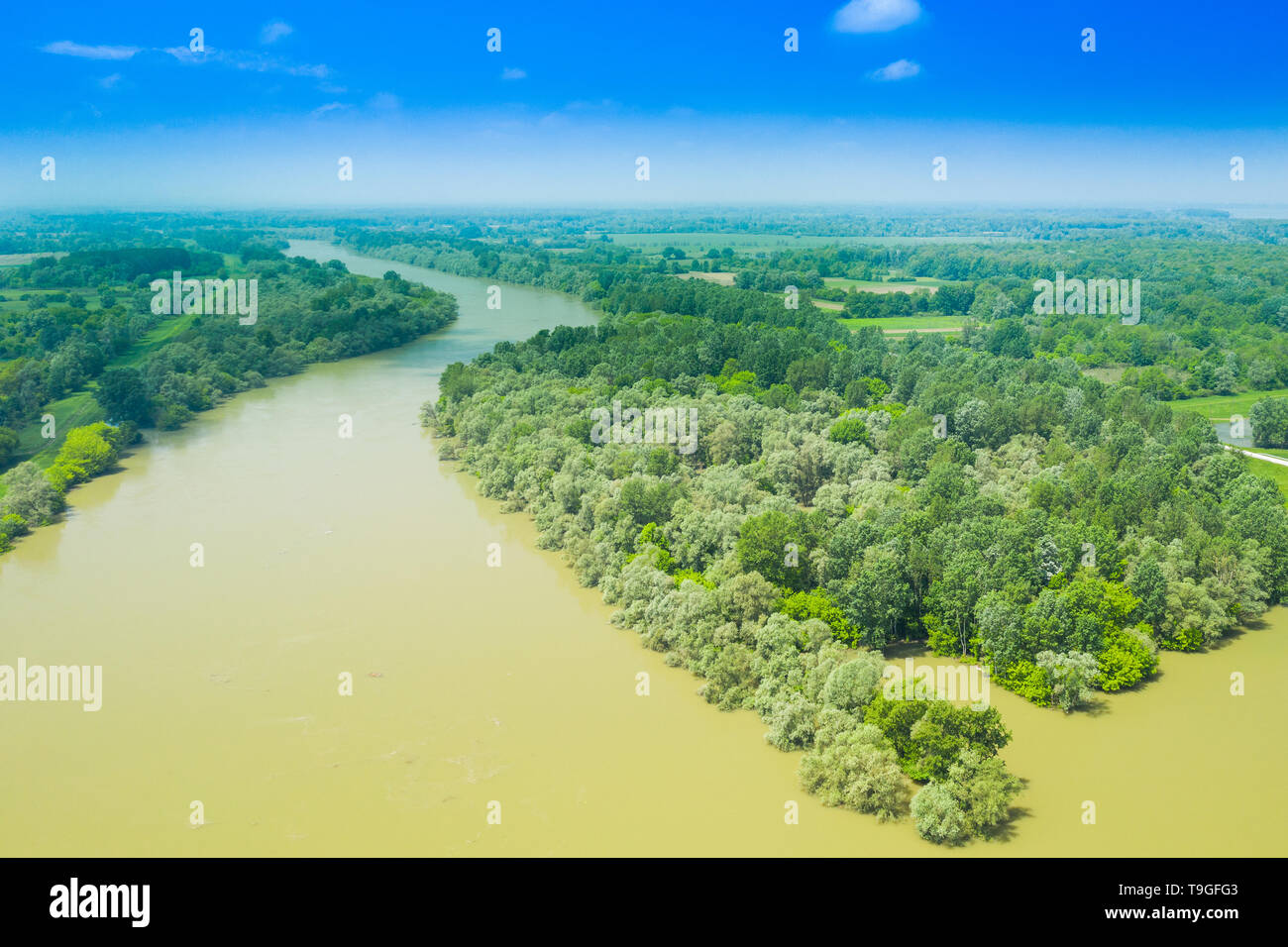 Sava river from air, landscape in nature park Lonjsko polje, Croatia, panoramic view of woods and river floods Stock Photo
