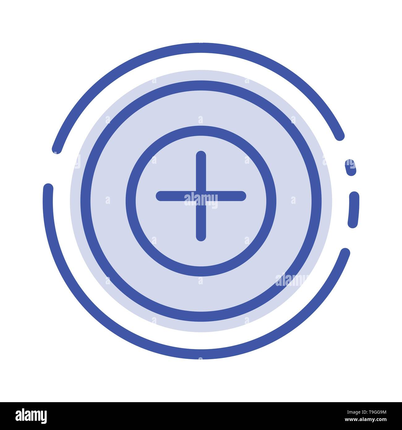 Add, More, Plus Blue Dotted Line Line Icon - Stock Vector