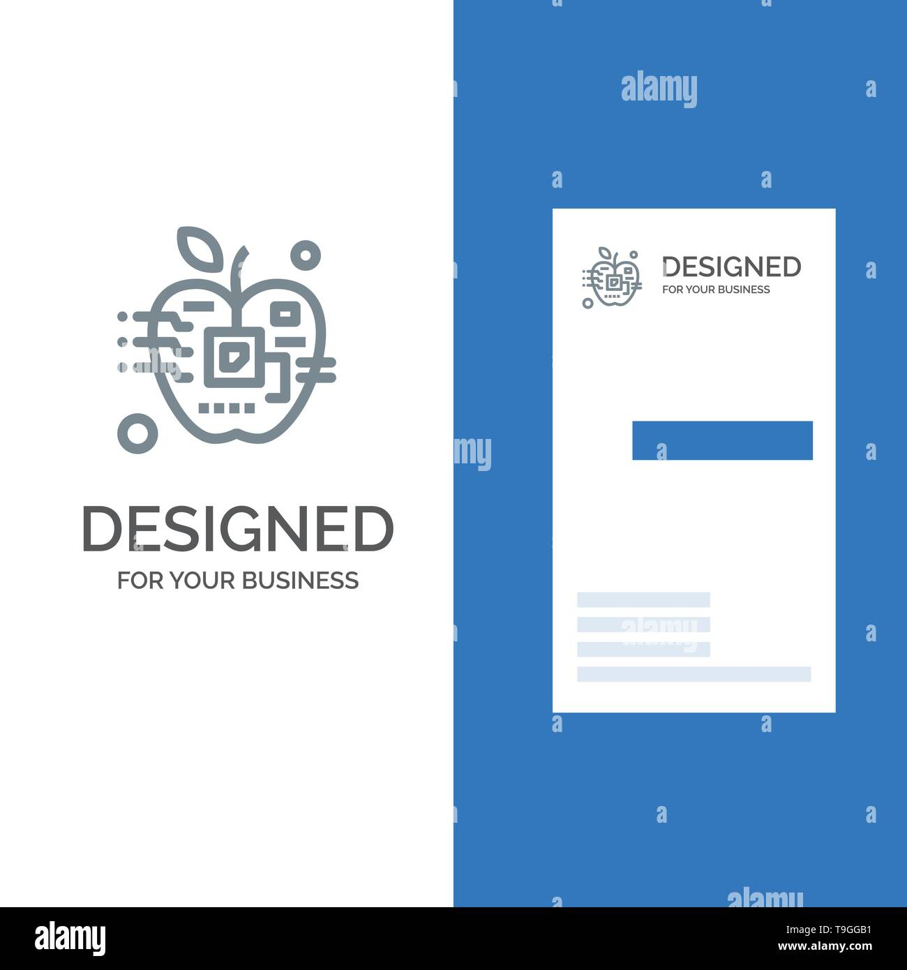 Apple, Artificial, Biology, Digital, Electronic Grey Logo Design and Business Card Template - Stock Image