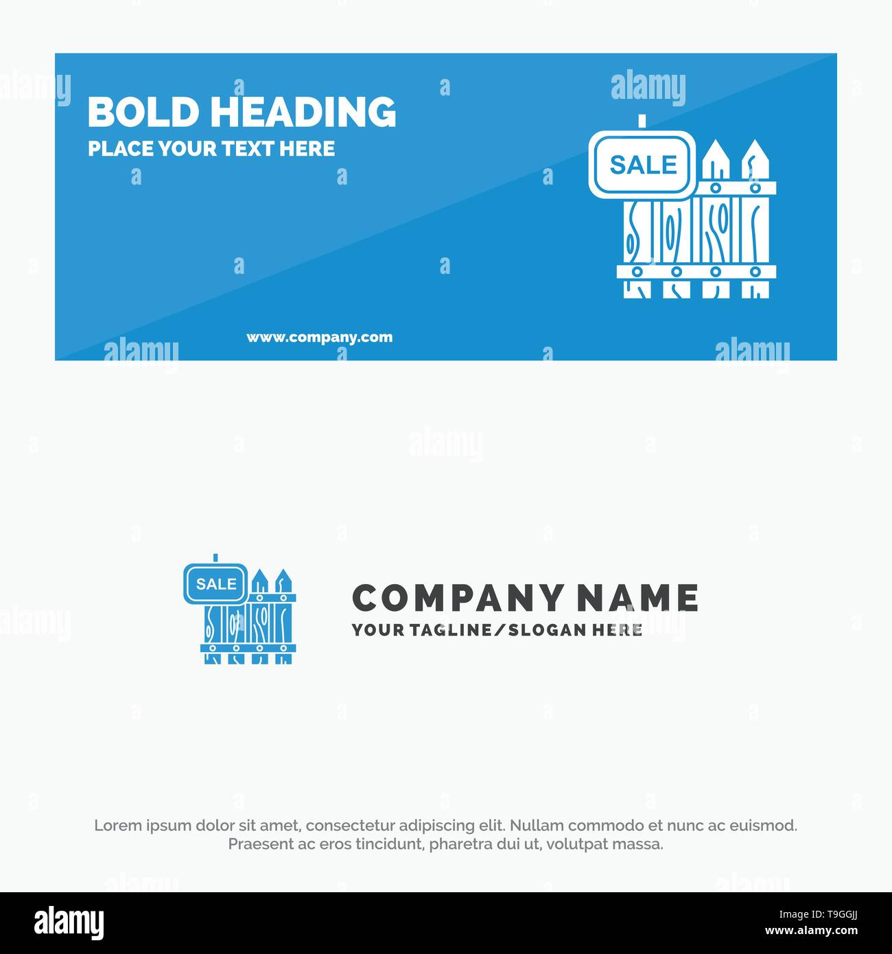 Fence, Wood, Realty, Sale, Garden, House SOlid Icon Website Banner and Business Logo Template - Stock Image