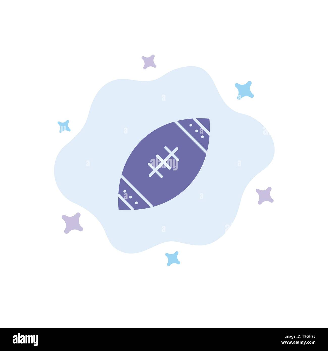 American, Ball, Football, Nfl, Rugby Blue Icon on Abstract Cloud Background - Stock Image