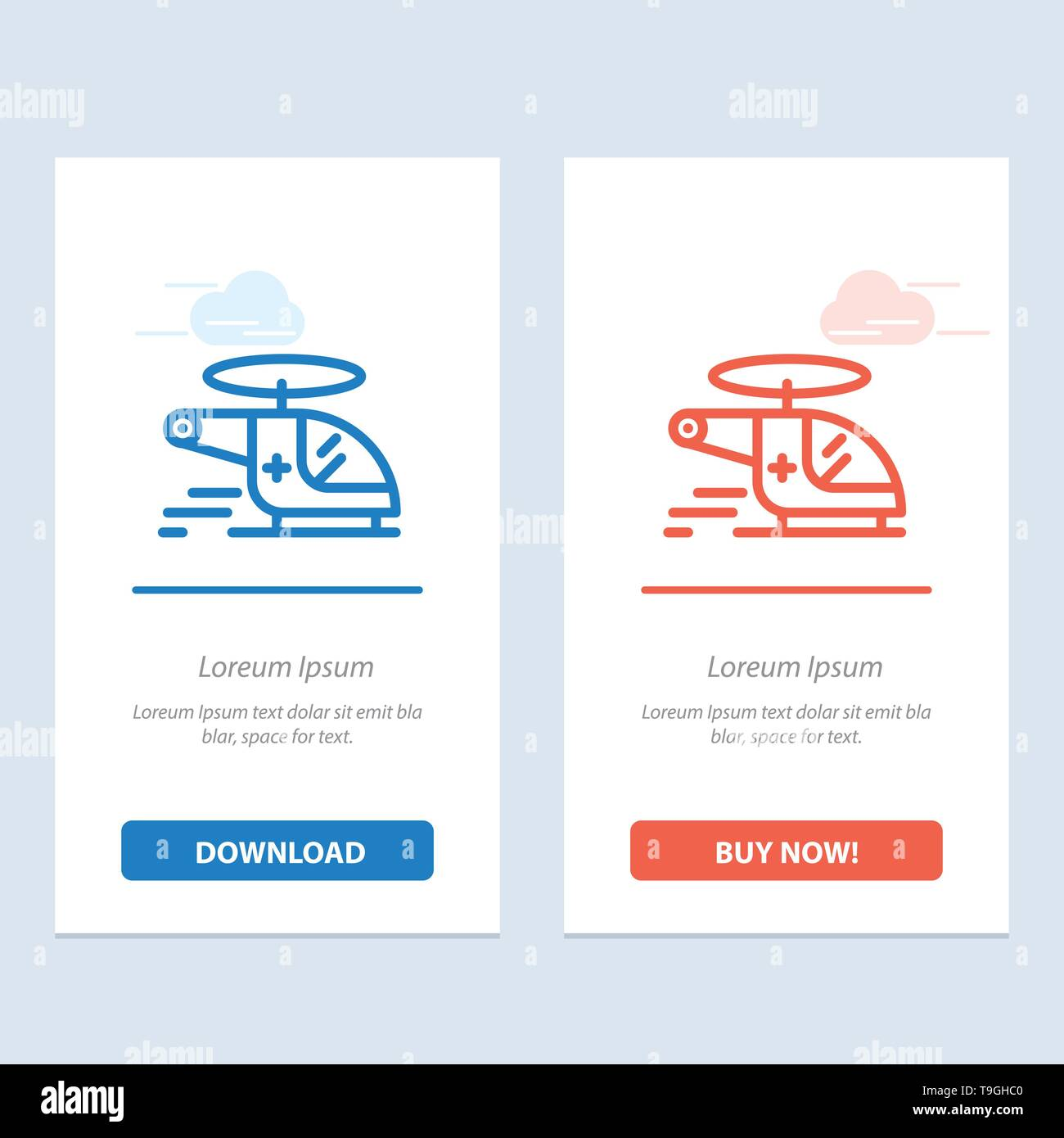 Helicopter, Chopper, Medical, Ambulance, Air  Blue and Red Download and Buy Now web Widget Card Template - Stock Image
