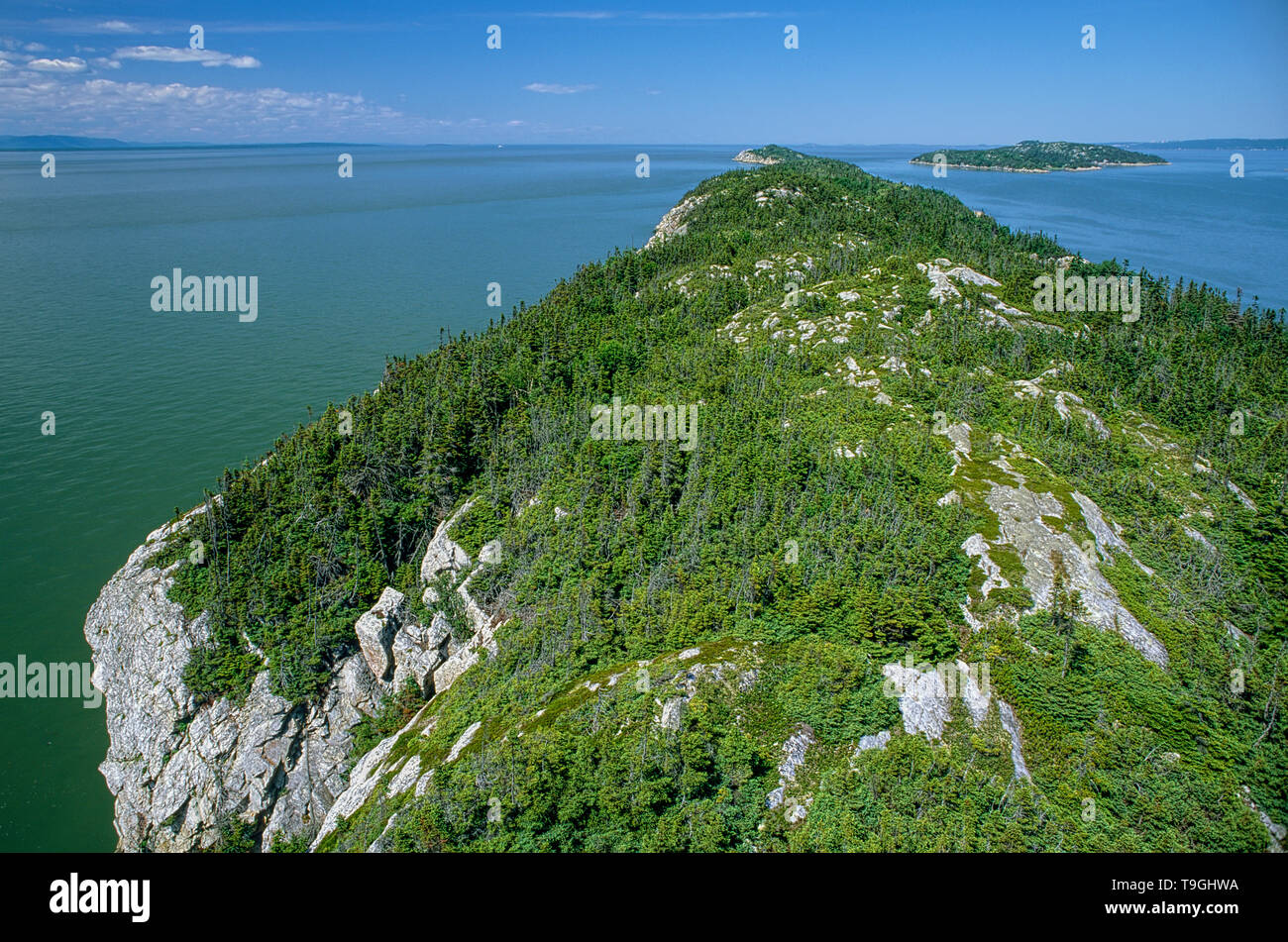 View of Pelerins Islands, Saint-Lawrence river,  Lower Saint-Lawrence region, Quebec, Canada - Stock Image