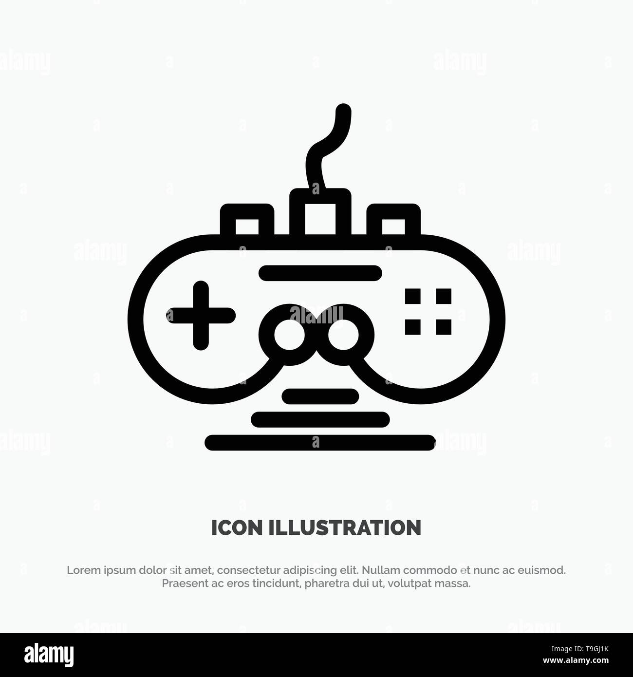 Controller, Game, Game Controller, Gamepad Vector Line Icon - Stock Image