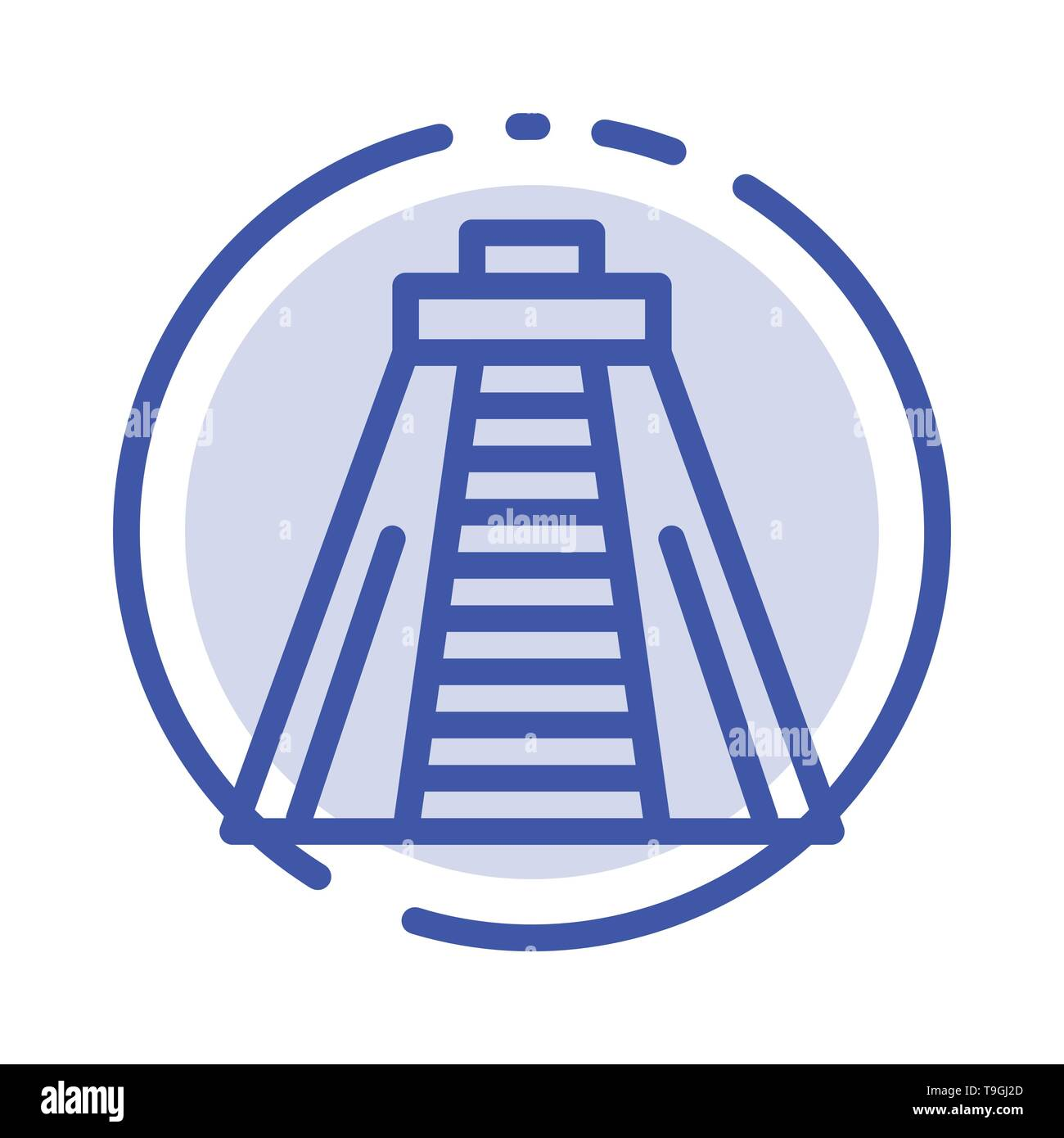 Chichen Itza, Landmark, Monument Blue Dotted Line Line Icon - Stock Image