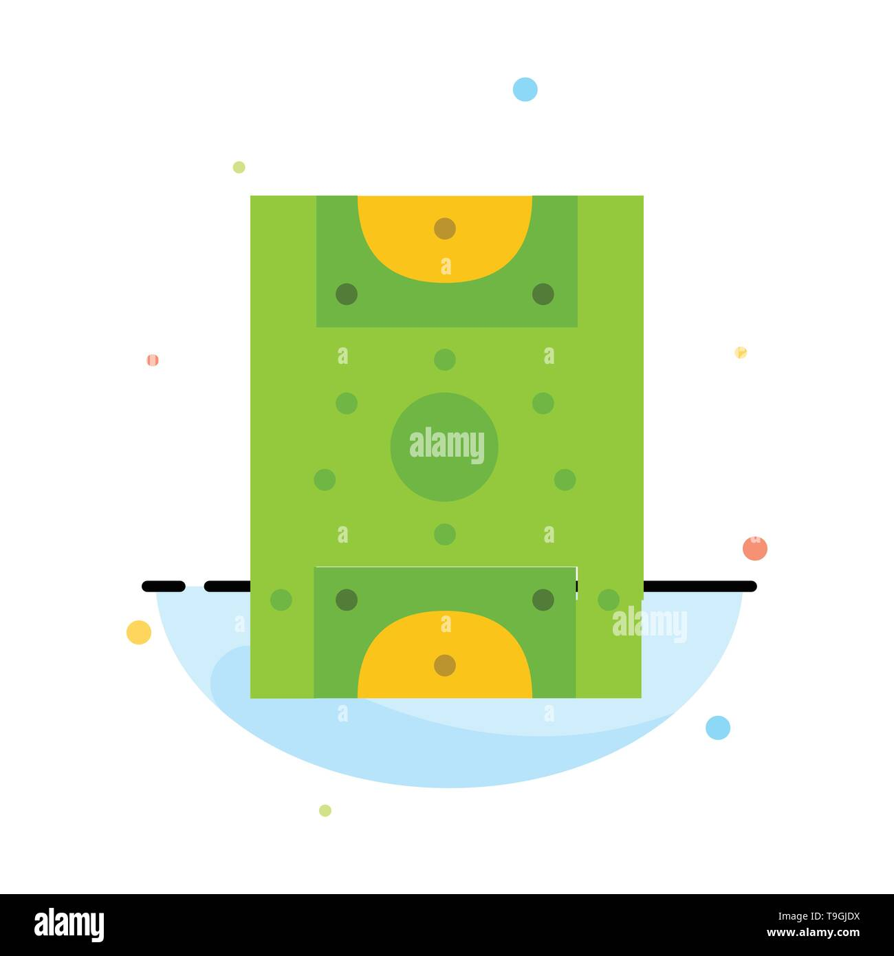 Entertainment, Game, Football, Field Abstract Flat Color Icon Template - Stock Image