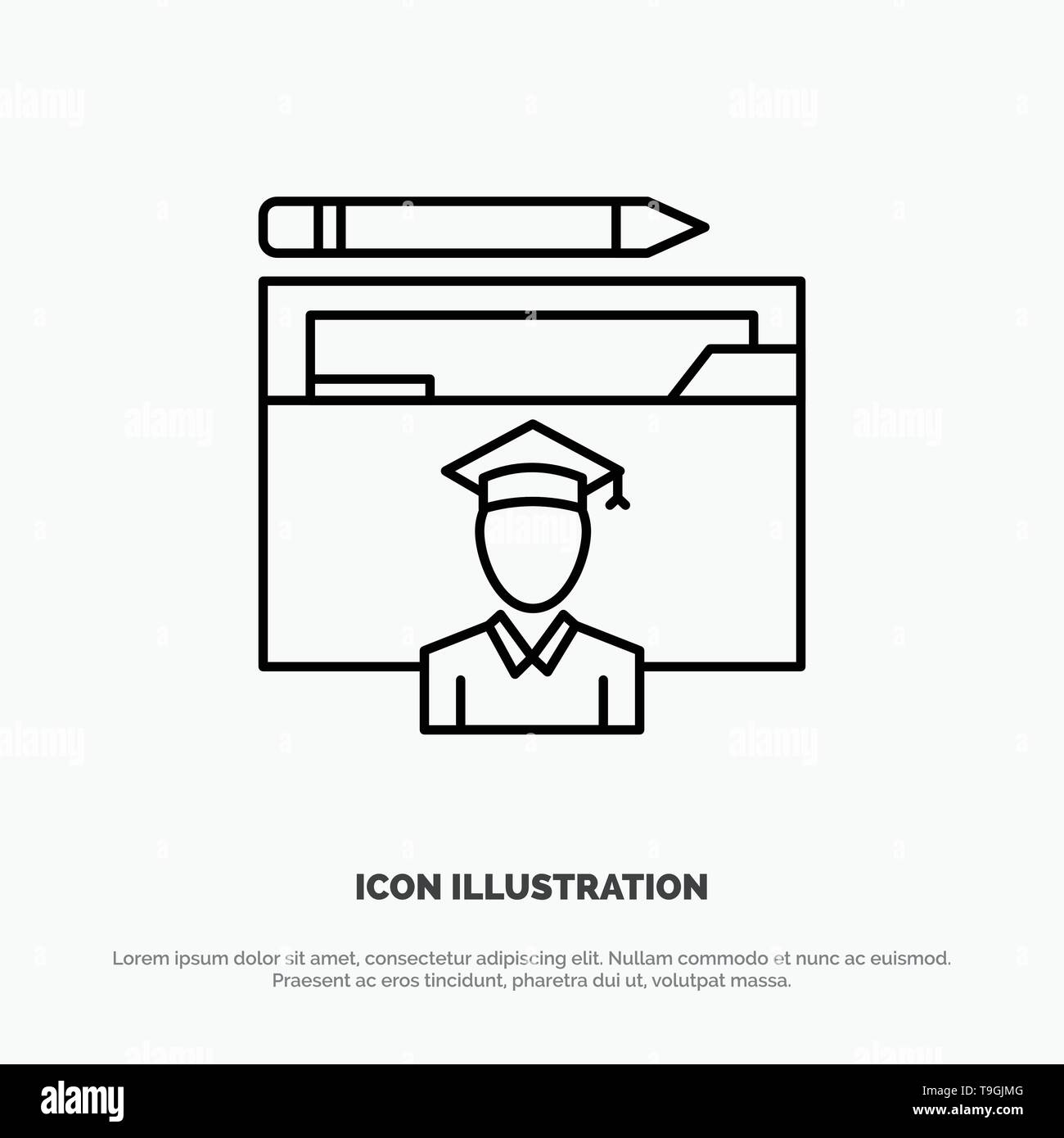 Avatar, Education, Graduate, Graduation, Scholar Line Icon Vector - Stock Vector