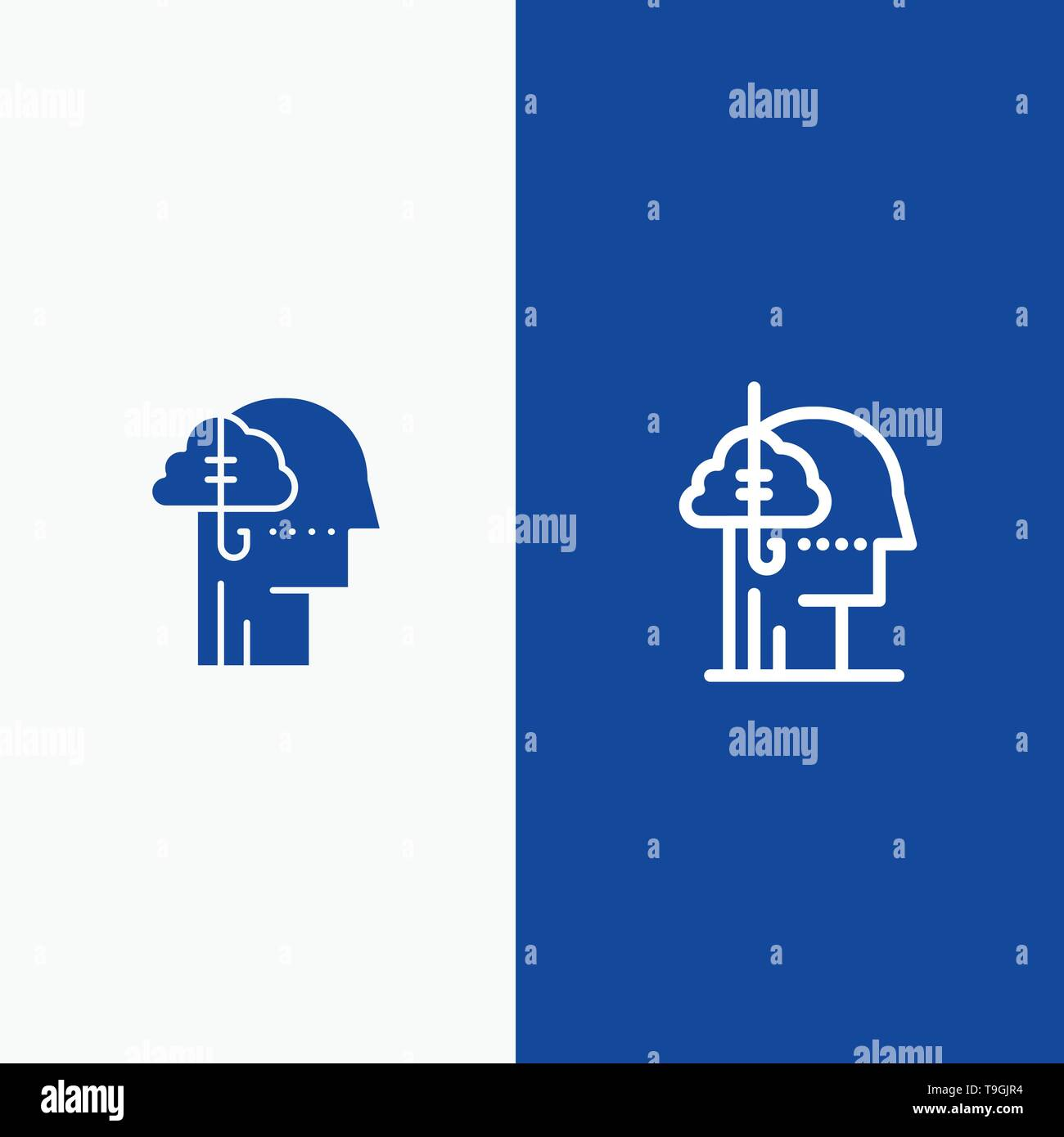 Borrowing Ideas, Addiction, Catch, Habit, Human Line and Glyph Solid icon Blue banner Line and Glyph Solid icon Blue banner - Stock Image