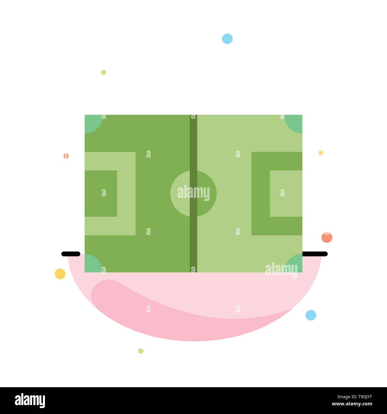 Field, Football, Game, Pitch, Soccer Abstract Flat Color Icon Template - Stock Image
