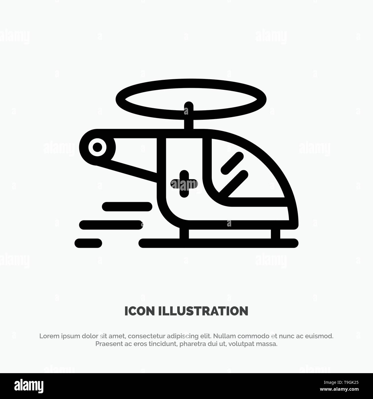 Helicopter, Chopper, Medical, Ambulance, Air Line Icon Vector - Stock Image