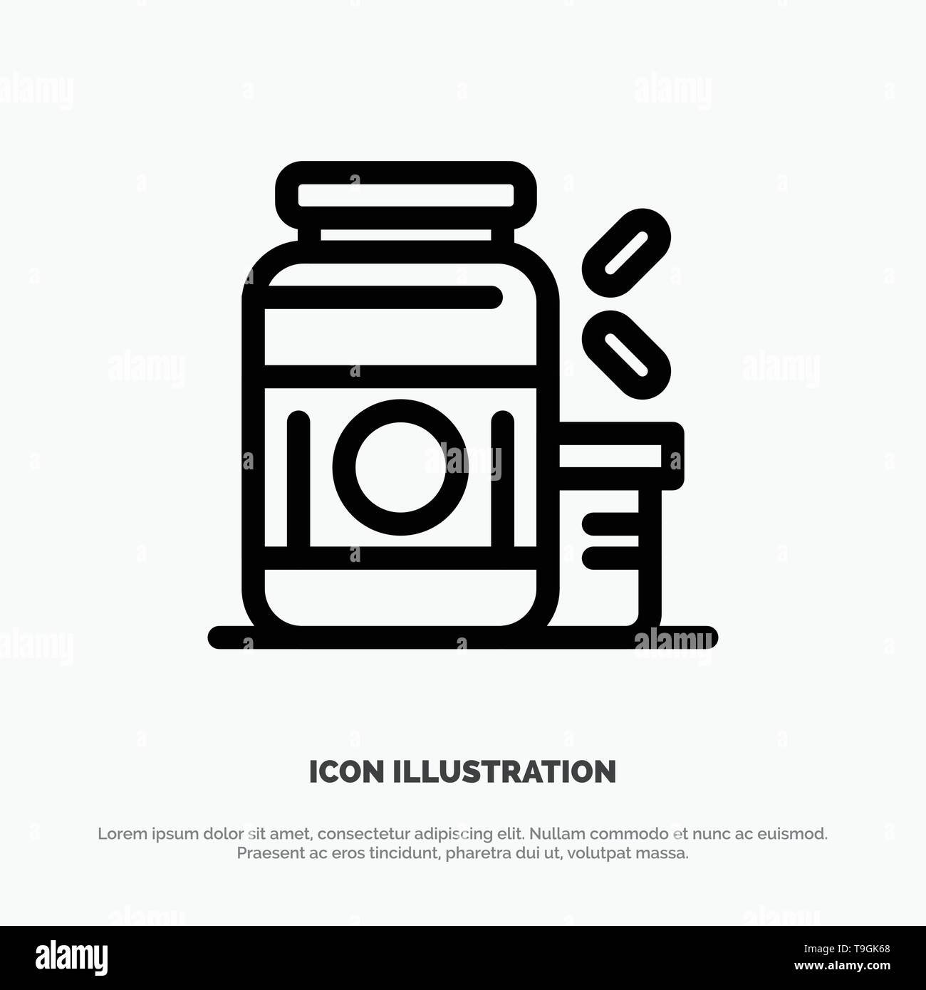 Bodybuilding, Gainer, Protein, Sports, Supplement Line Icon Vector - Stock Image
