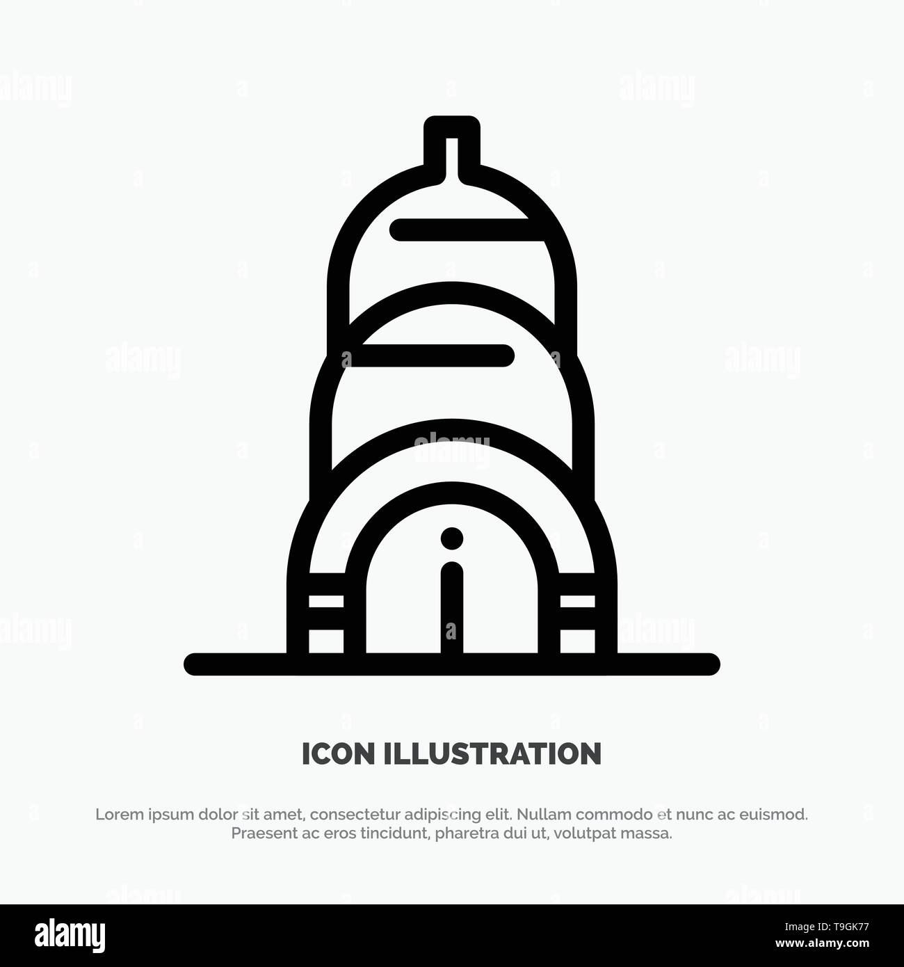 Chrysler, Building, Usa Line Icon Vector - Stock Image