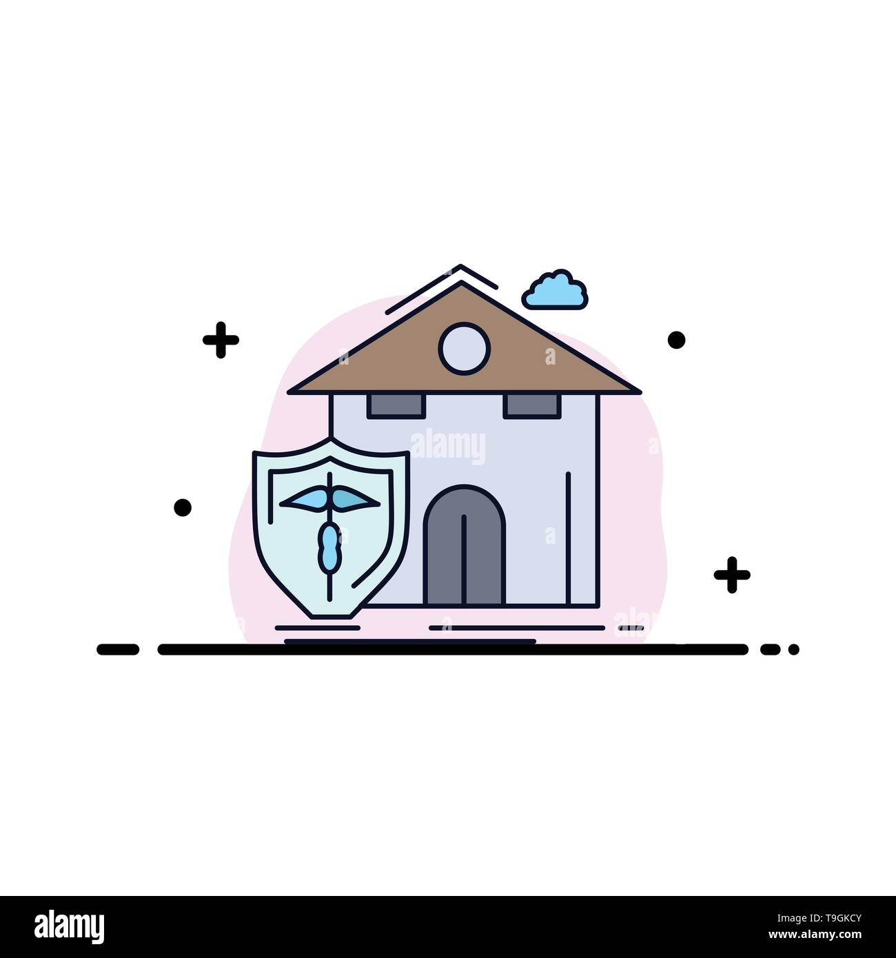 insurance, home, house, casualty, protection Flat Color Icon Vector Stock Vector