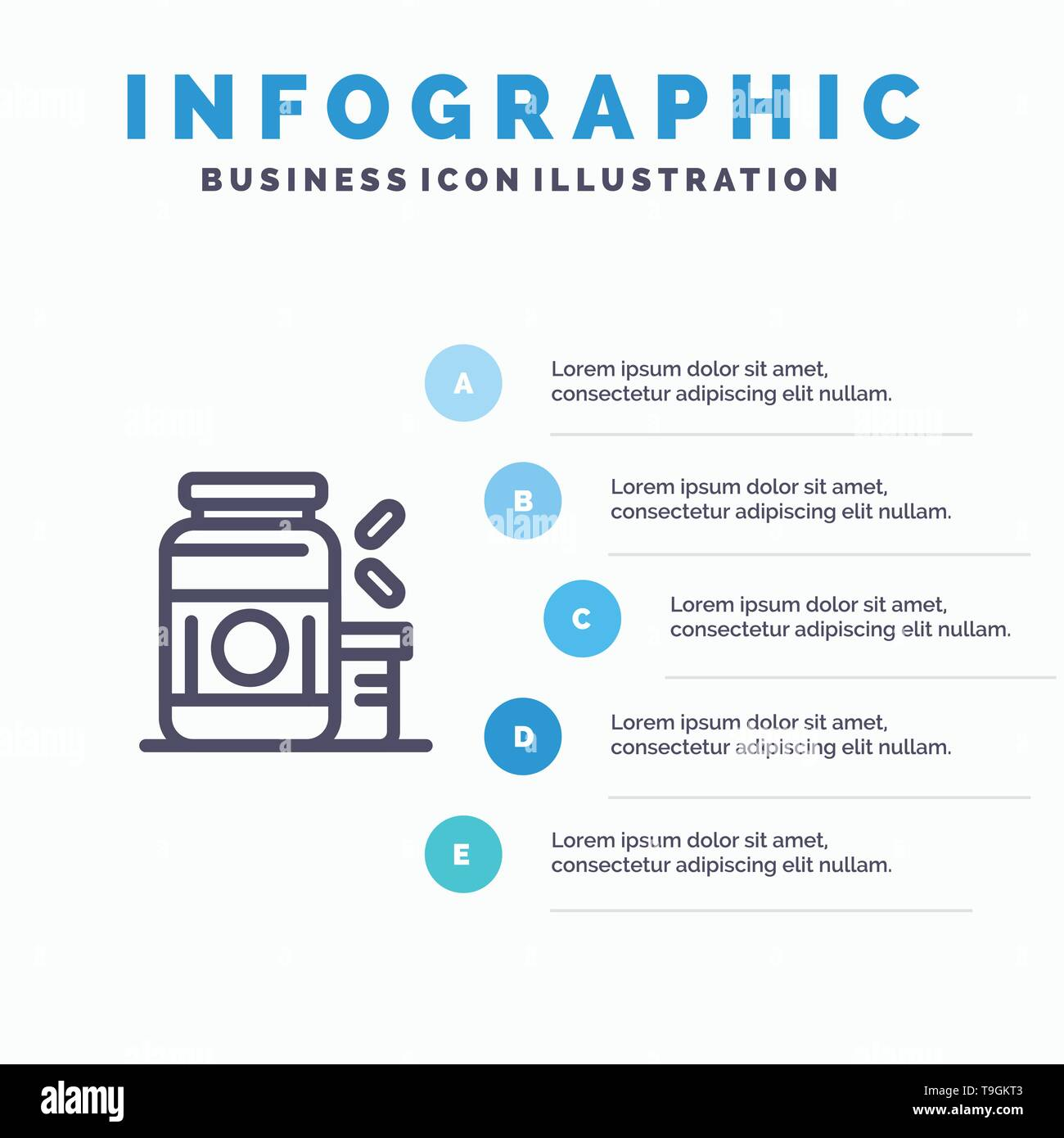 Bodybuilding, Gainer, Protein, Sports, Supplement Line icon with 5 steps presentation infographics Background - Stock Image