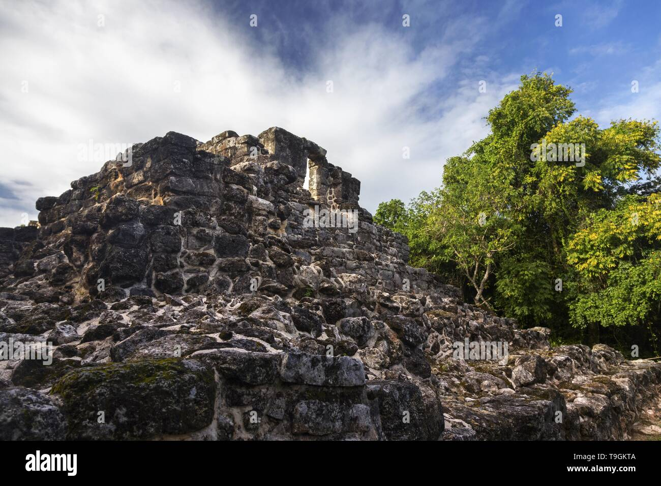 Ancient Mayan Civilization Ruins in San Gervasio Archeological Site, Cozumel Mexico Stock Photo