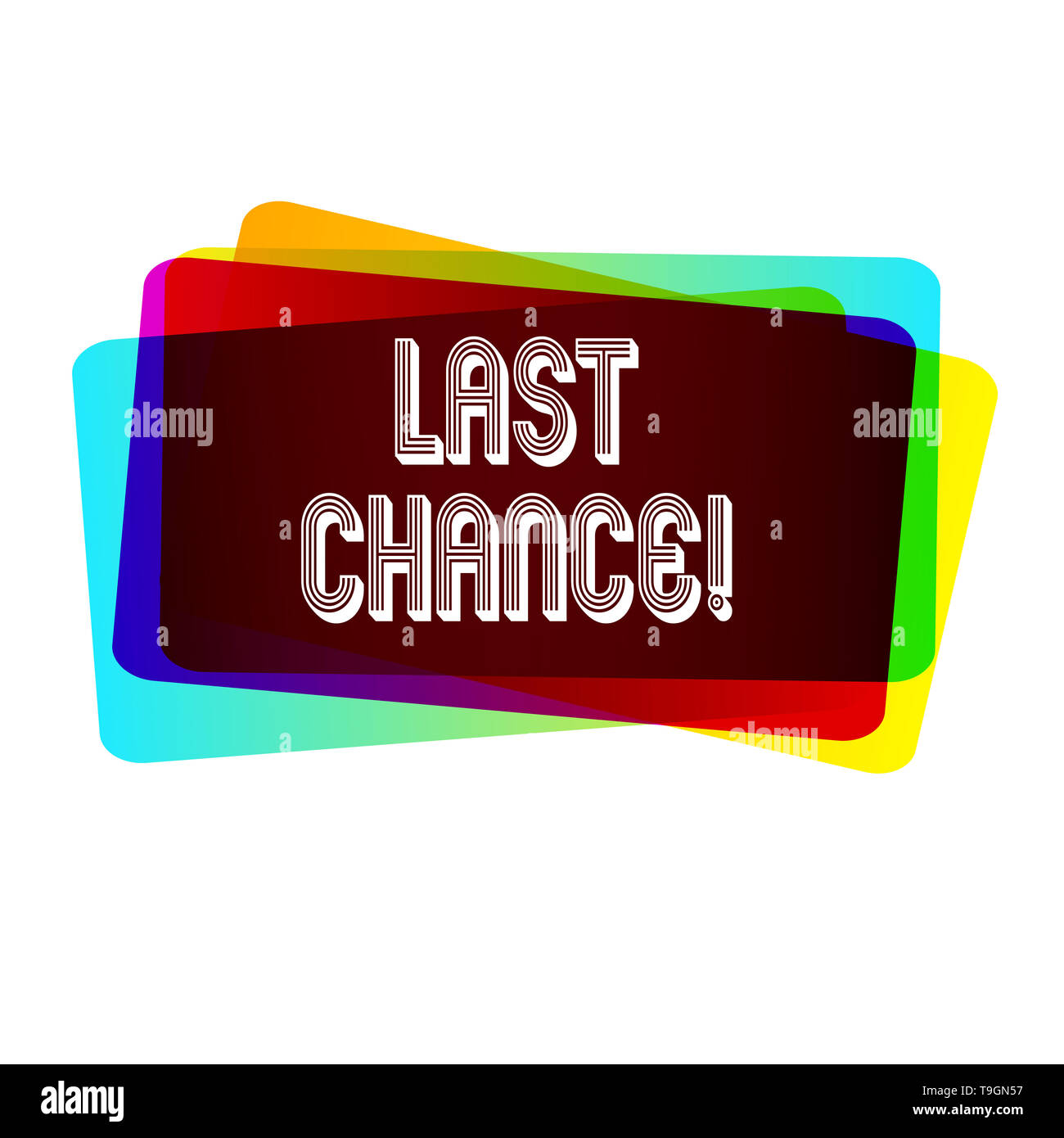Text sign showing Last Chance. Business photo showcasing final opportunity to achieve or acquire something you want - Stock Image
