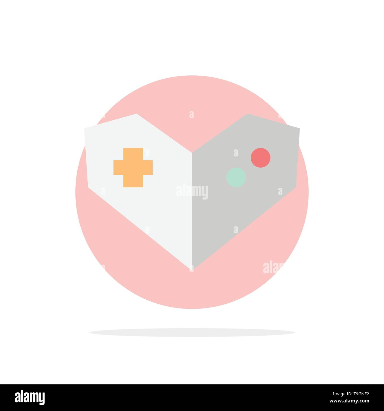 Gamepad, Videogame, PlayStation Abstract Circle Background Flat color Icon - Stock Image
