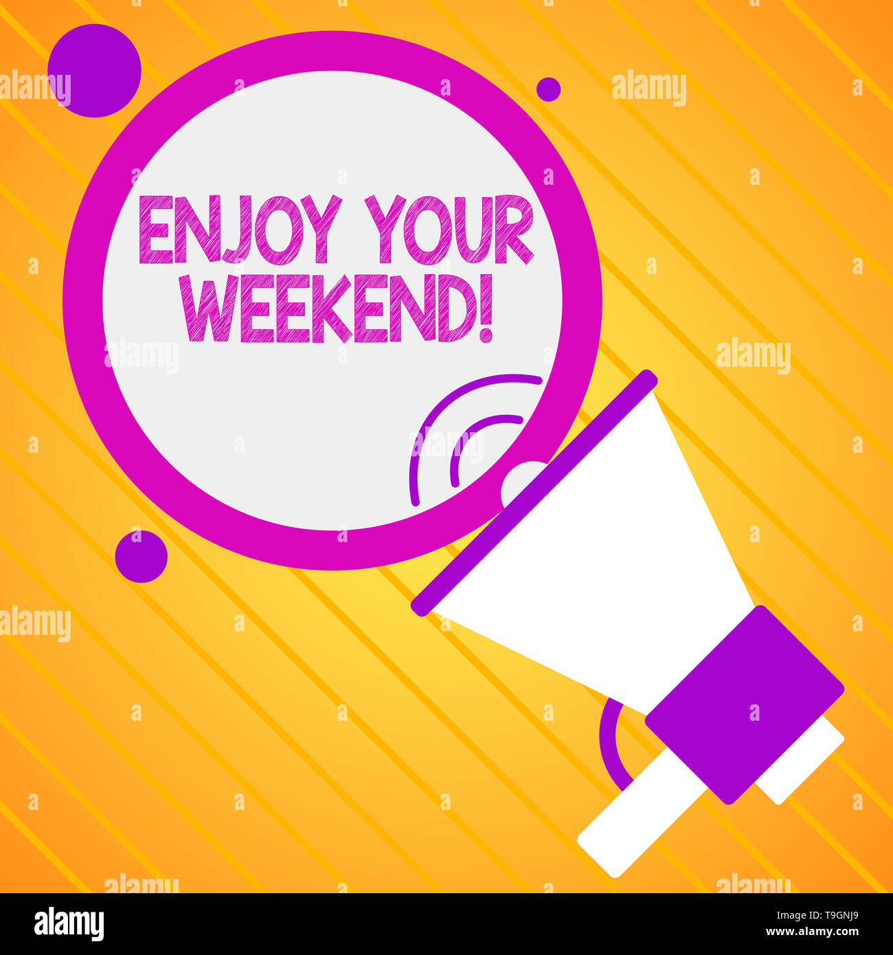 Text sign showing Enjoy Your Weekend. Business photo showcasing wishing someone that something nice will happen at holiday - Stock Image