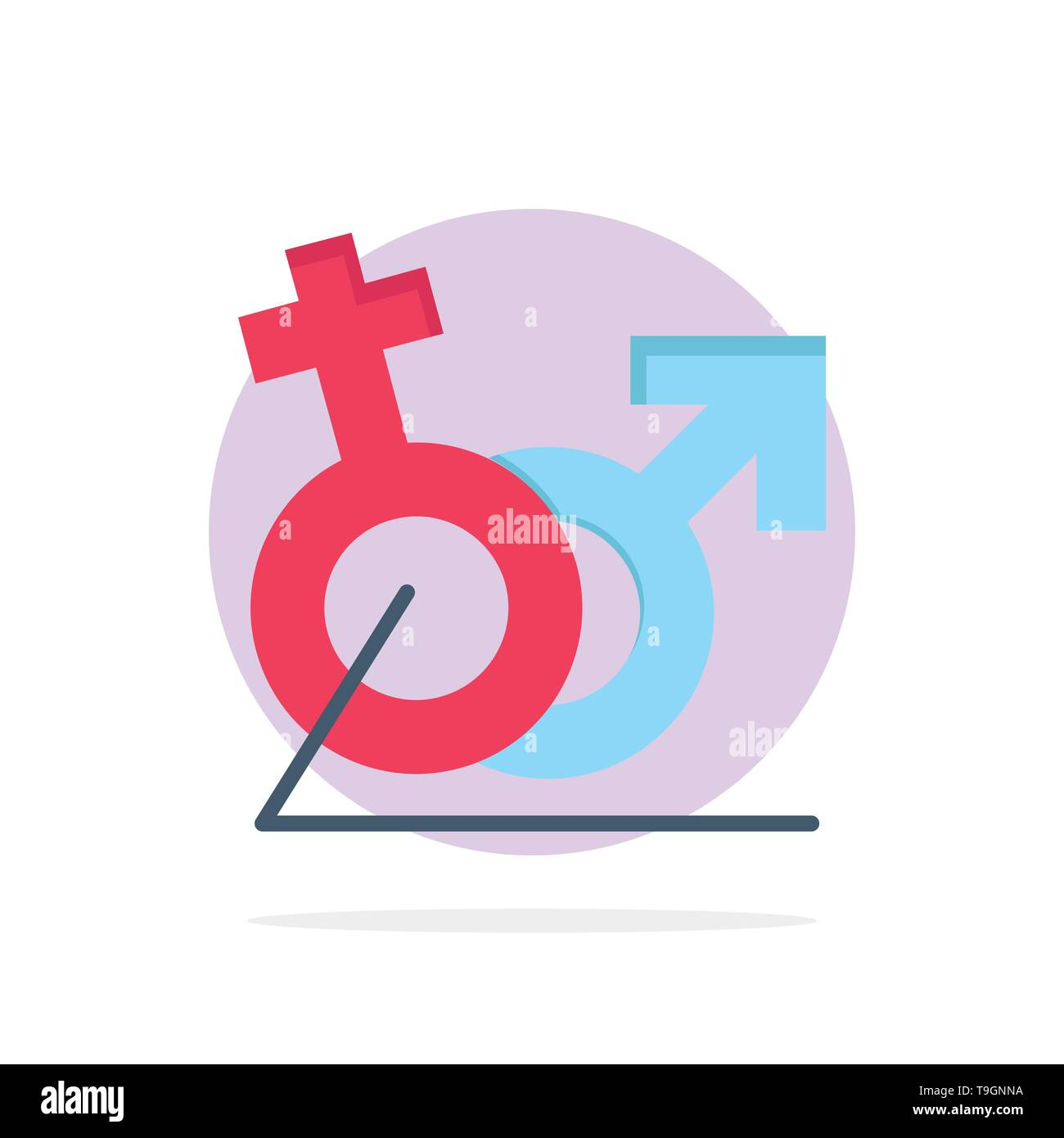 Men, Women, Sign, Gander, Identity Abstract Circle Background Flat color Icon - Stock Image
