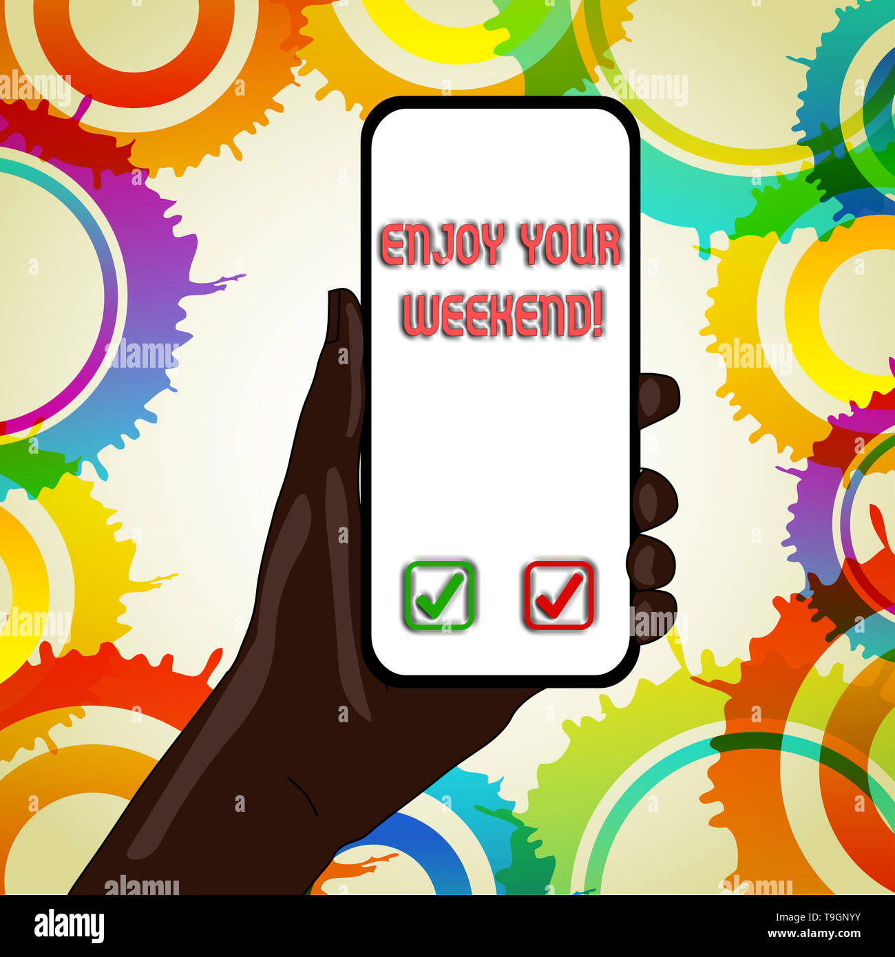 Text sign showing Enjoy Your Weekend. Business photo text wishing someone that something nice will happen at holiday - Stock Image
