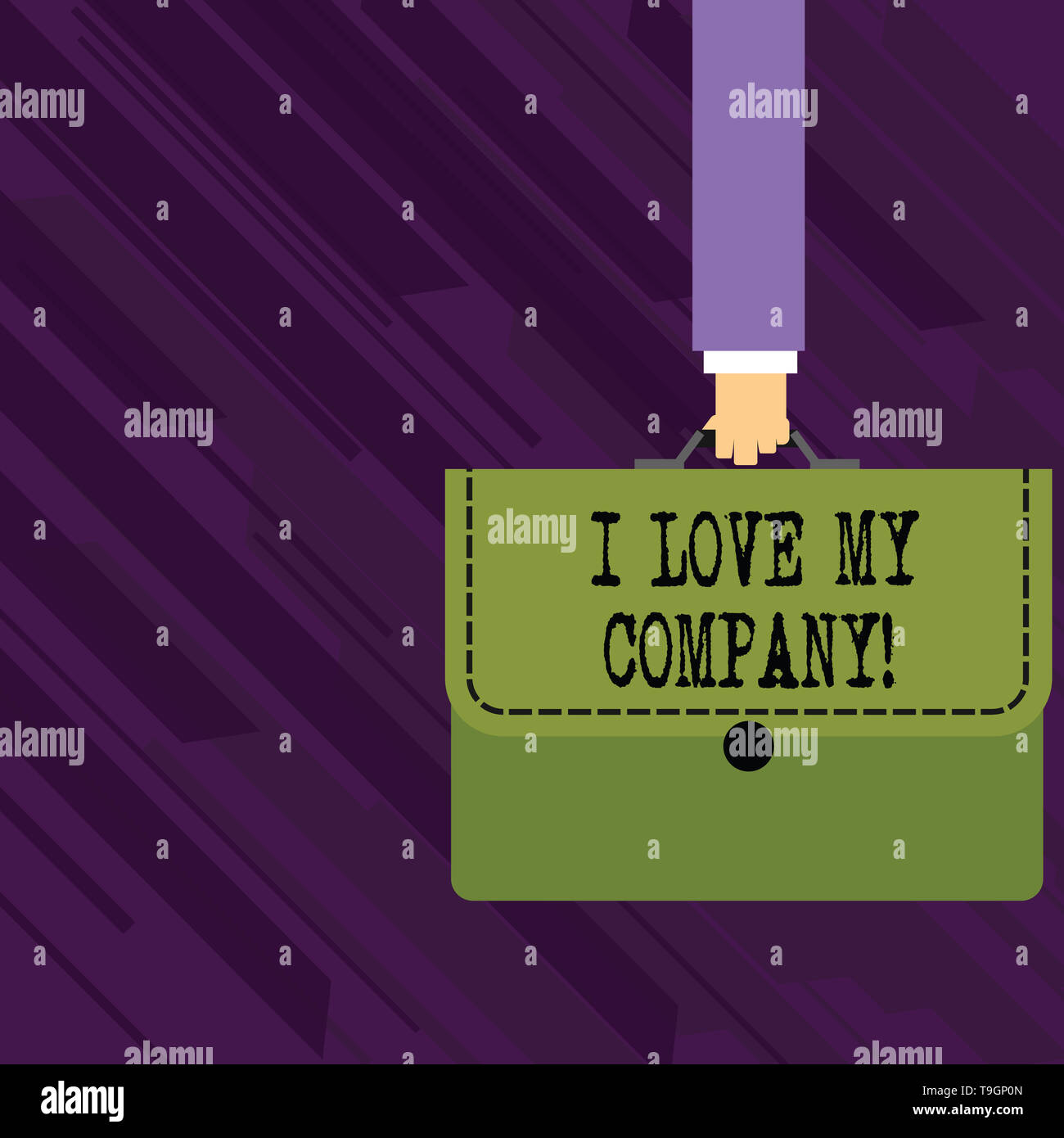 Conceptual hand writing showing I Love My Company. Concept meaning tell why admire their job and workplace Businessman Carrying Colorful Briefcase Por - Stock Image