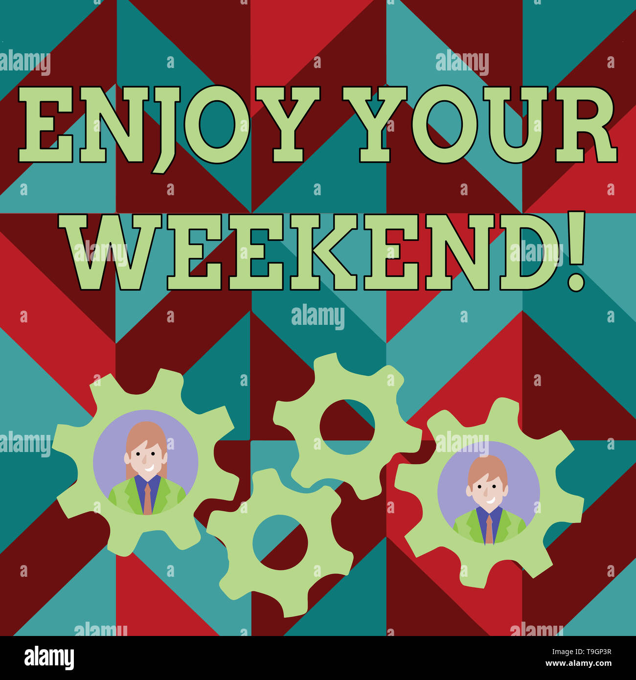 Conceptual hand writing showing Enjoy Your Weekend. Concept meaning wishing someone that something nice will happen at holiday Two Business People Ins - Stock Image