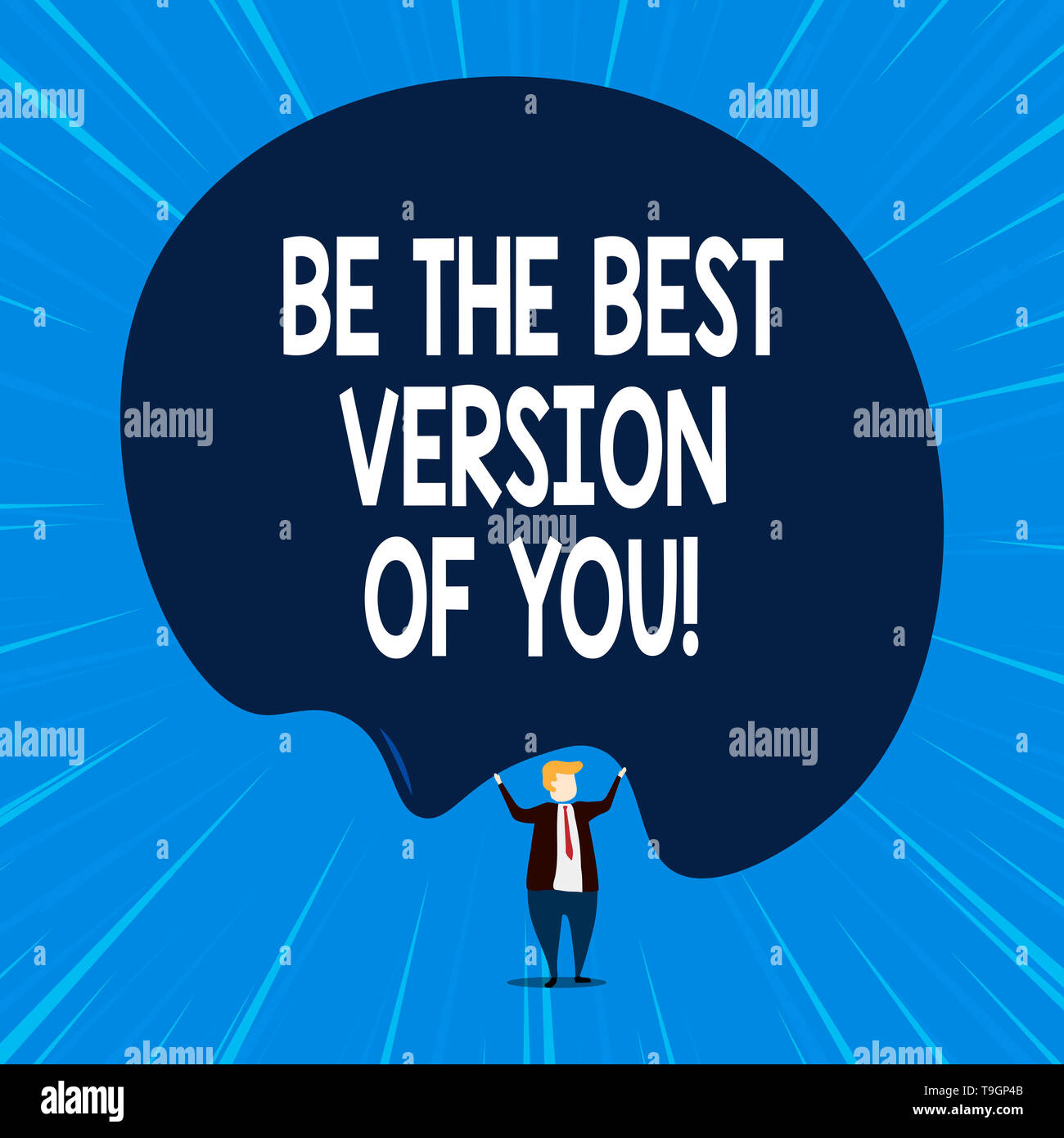 Writing note showing Be The Best Version Of You. Business concept for going to move away from where are start improving - Stock Image