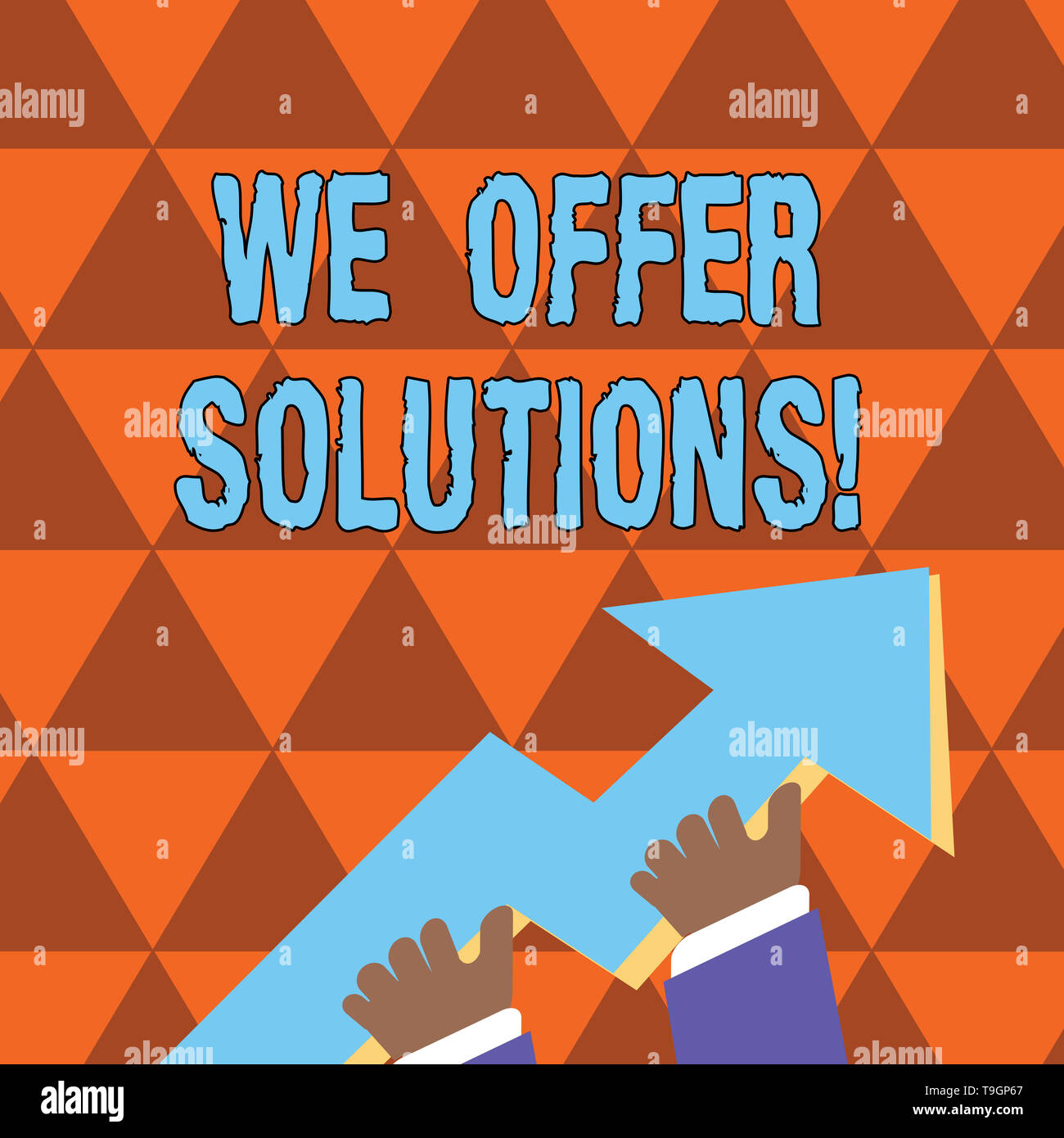 Conceptual hand writing showing We Offer Solutions. Concept meaning way to solve problem or deal with difficult situation Hand Holding Colorful Huge 3 - Stock Image