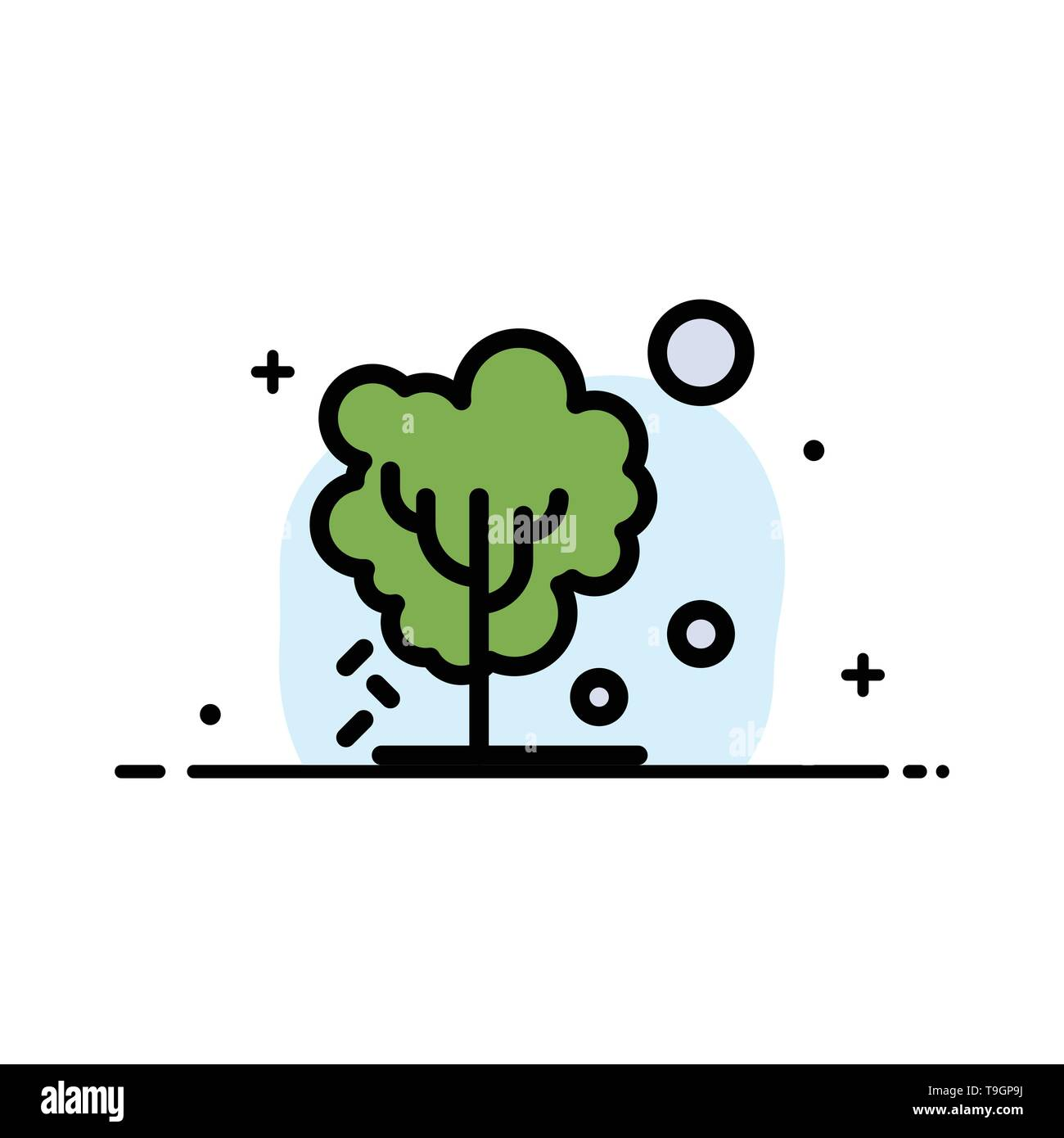 Dry, Global, Soil, Tree, Warming  Business Flat Line Filled Icon Vector Banner Template - Stock Image