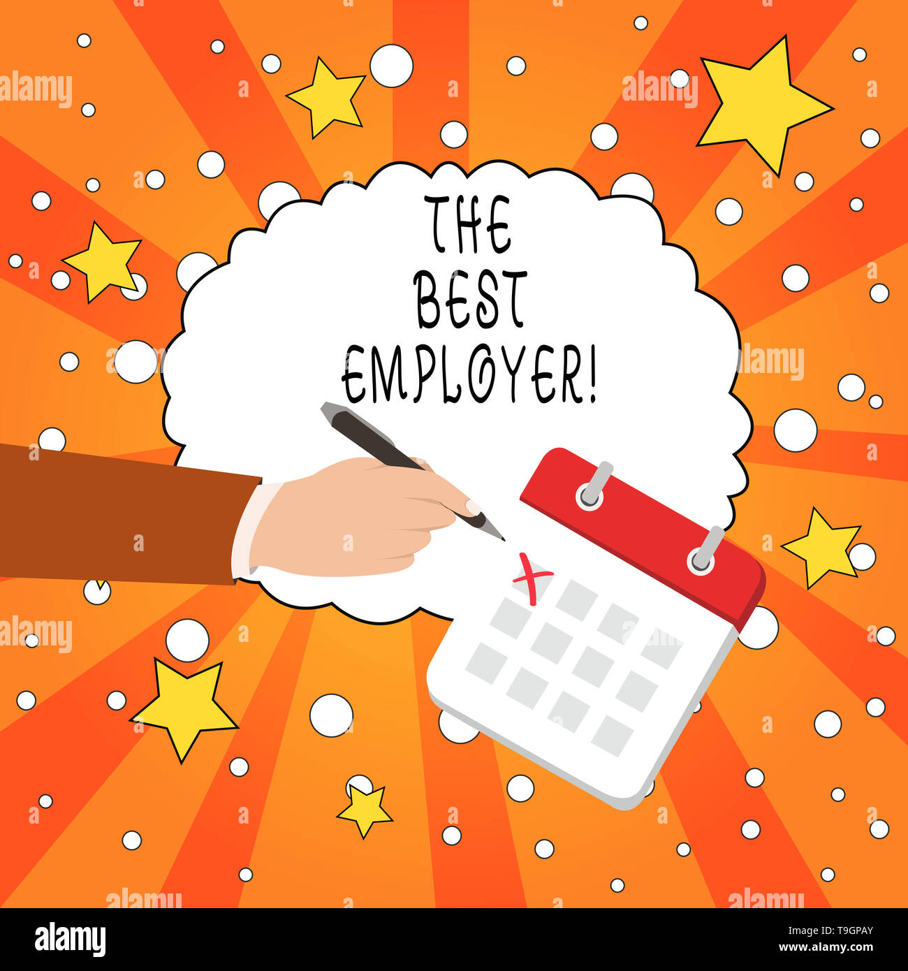 Writing note showing The Best Employer. Business concept for created workplace showing feel heard and empowered - Stock Image