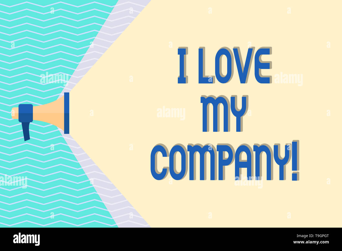 Conceptual hand writing showing I Love My Company. Concept meaning tell why admire their job and workplace Megaphone Extending the Volume Range throug - Stock Image