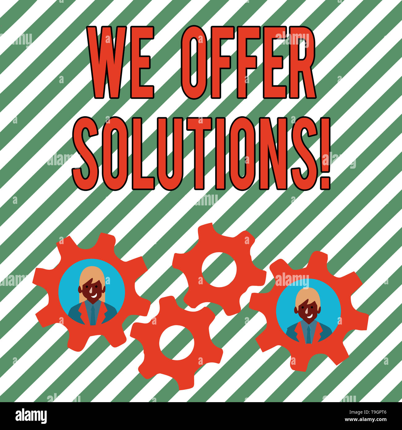 Conceptual hand writing showing We Offer Solutions. Concept meaning way to solve problem or deal with difficult situation Two Business People Inside C - Stock Image
