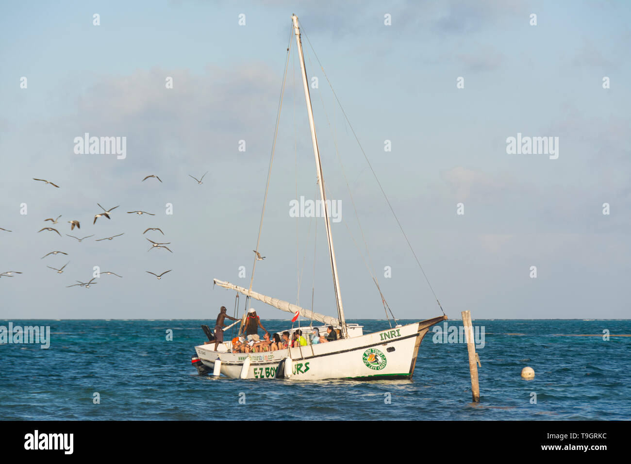 Sailing cruise tours at Caye Caulker, Belize - Stock Image