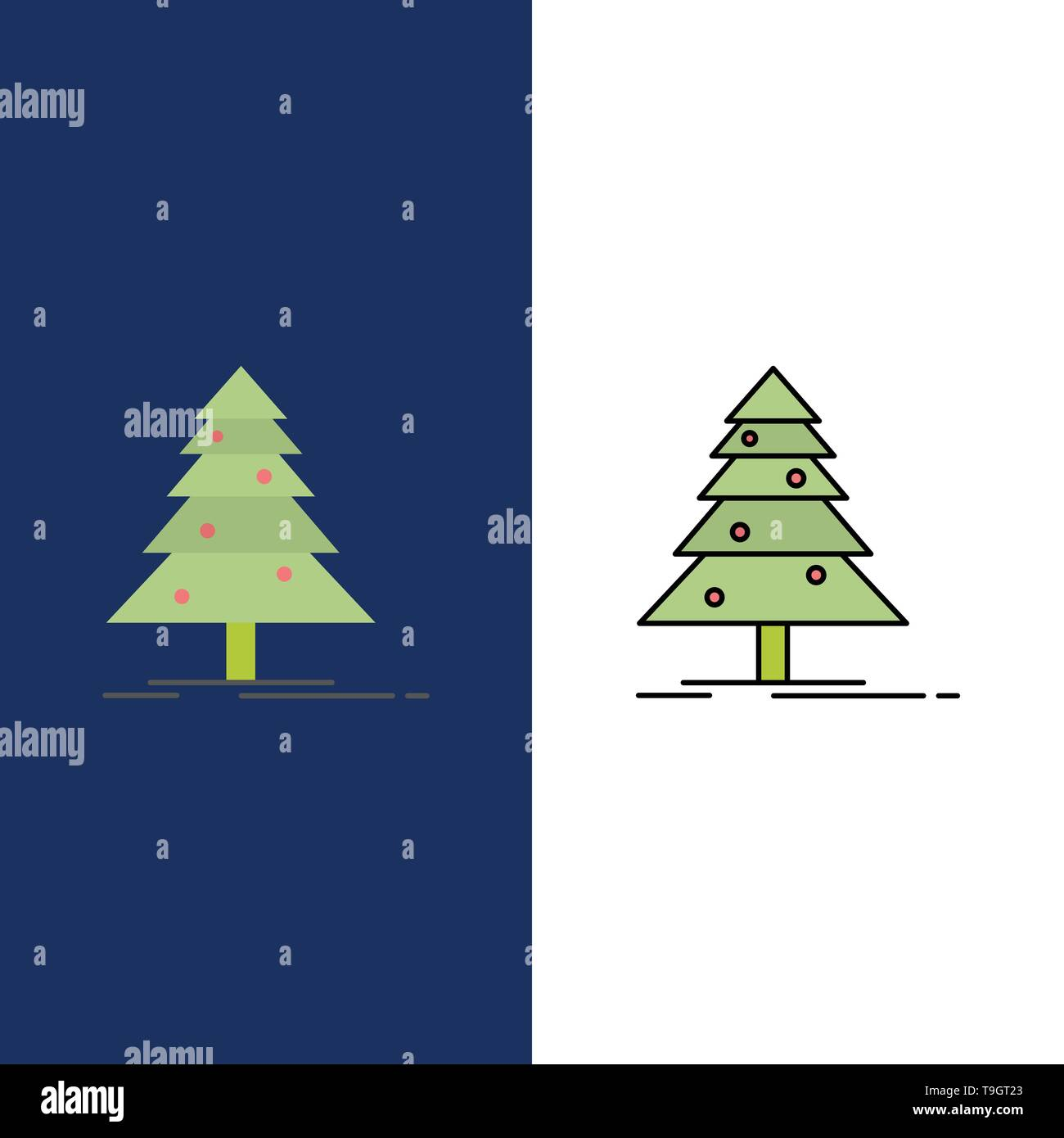 Tree, Forest, Christmas, XMas  Icons. Flat and Line Filled Icon Set Vector Blue Background - Stock Image